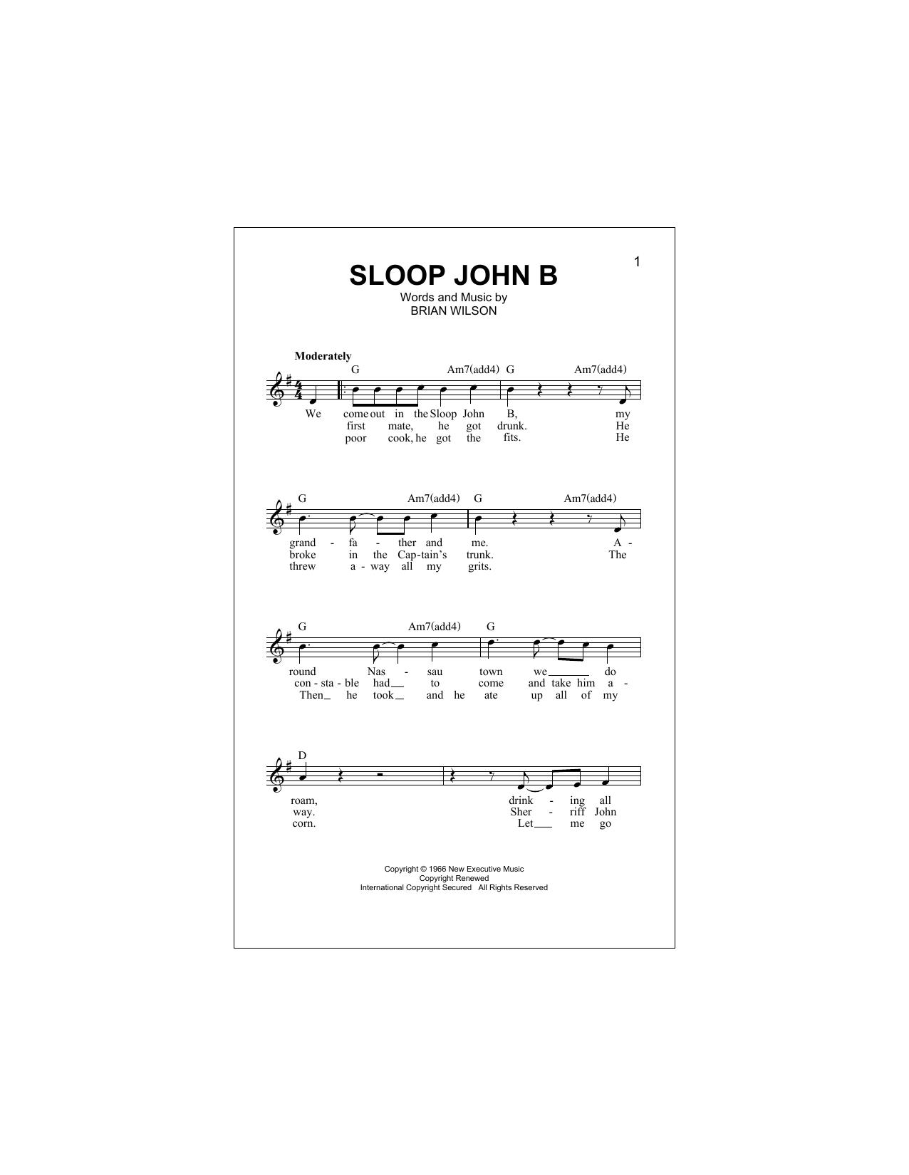 Sloop John B (Lead Sheet / Fake Book)