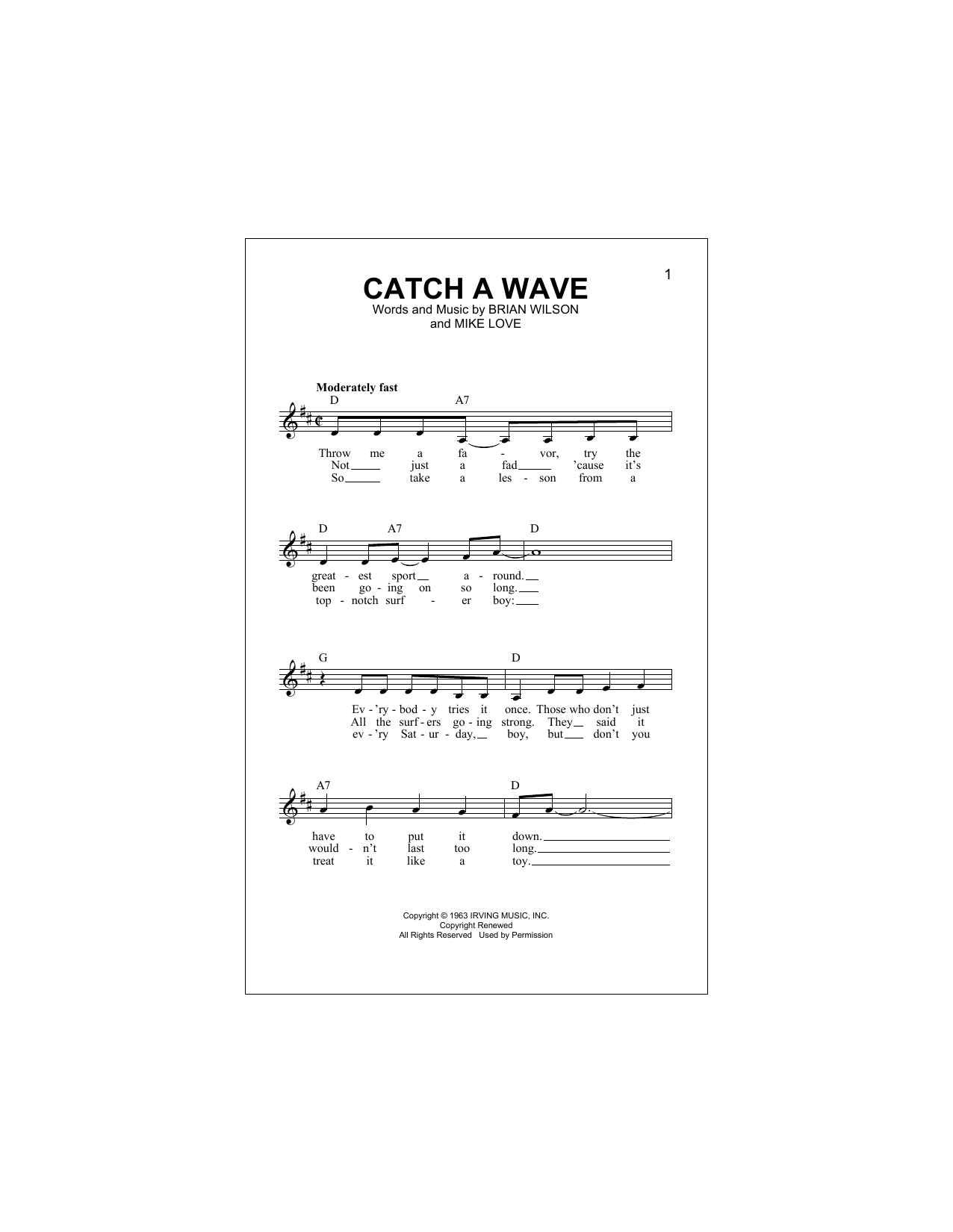 Catch A Wave (Lead Sheet / Fake Book)