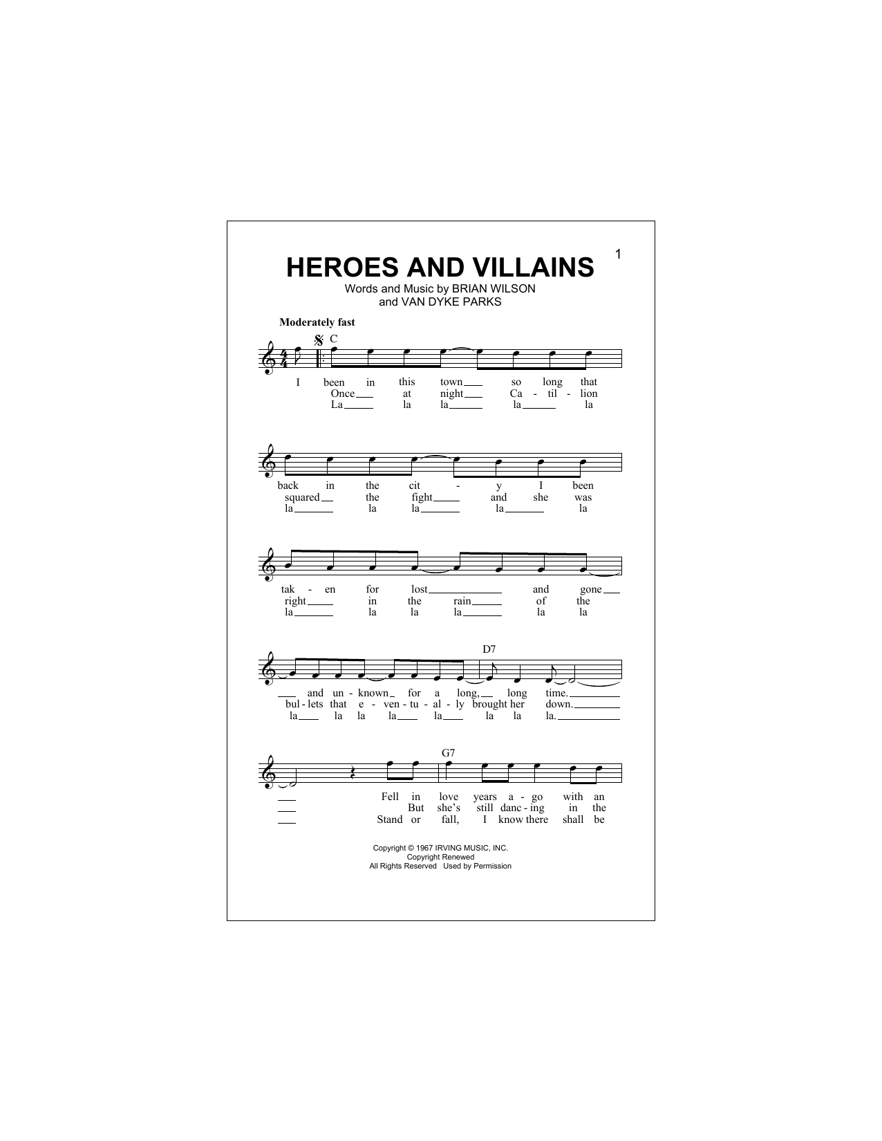 Heroes And Villains (Lead Sheet / Fake Book)