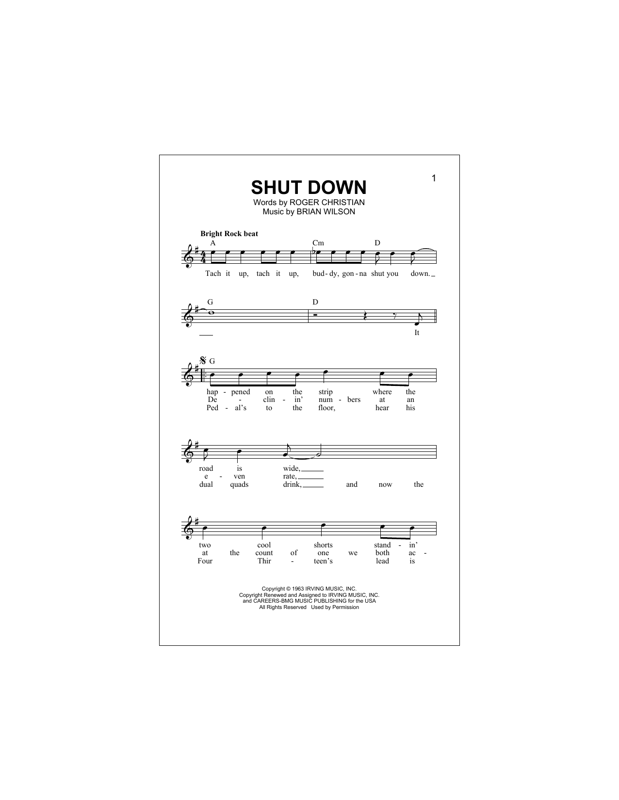 Shut Down Sheet Music