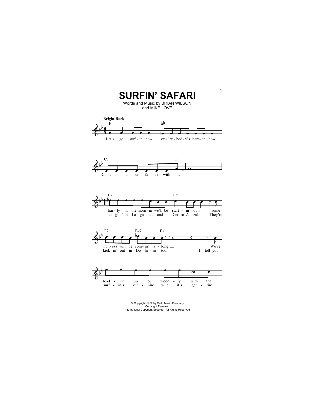 Surfin' Safari Sheet Music