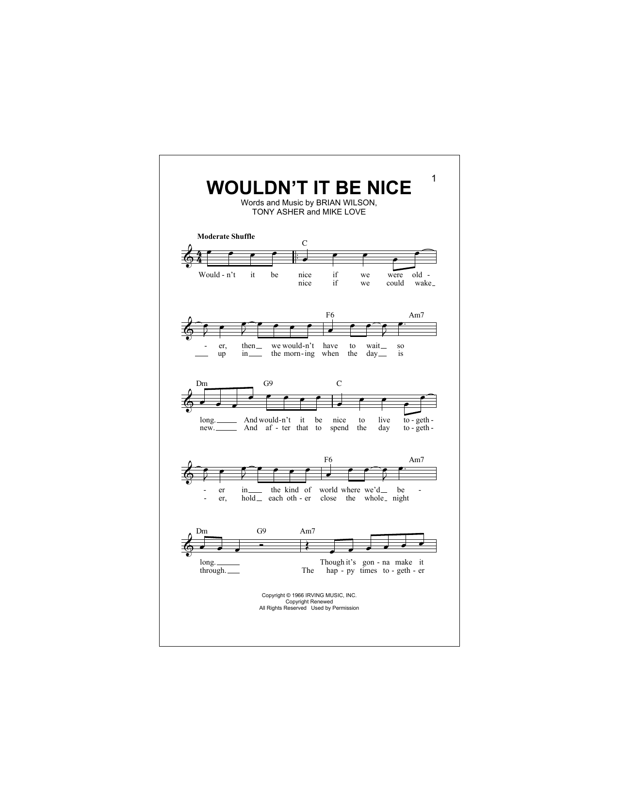 Wouldn't It Be Nice (Lead Sheet / Fake Book)