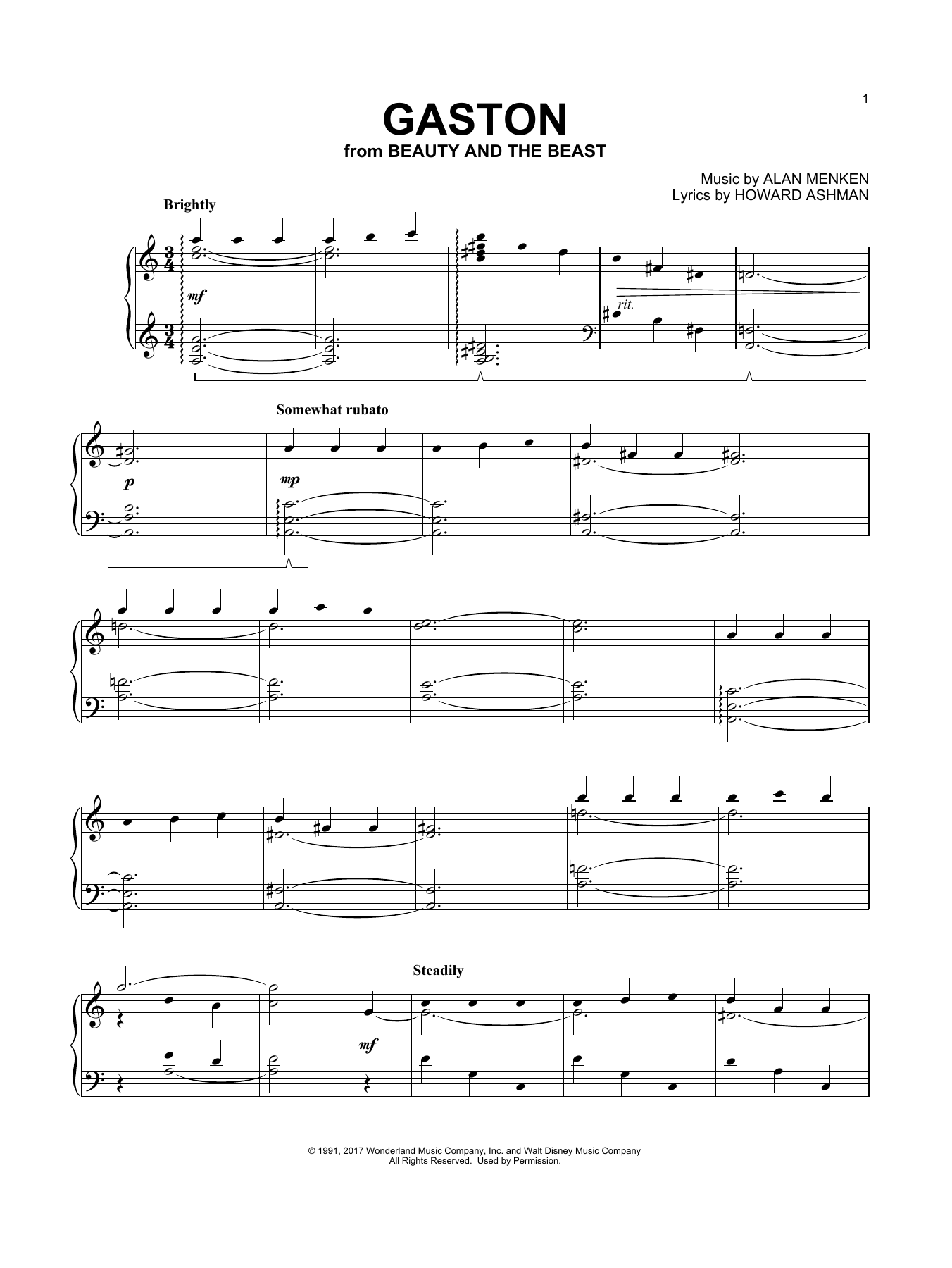 Gaston (from Beauty And The Beast) (Piano Solo)