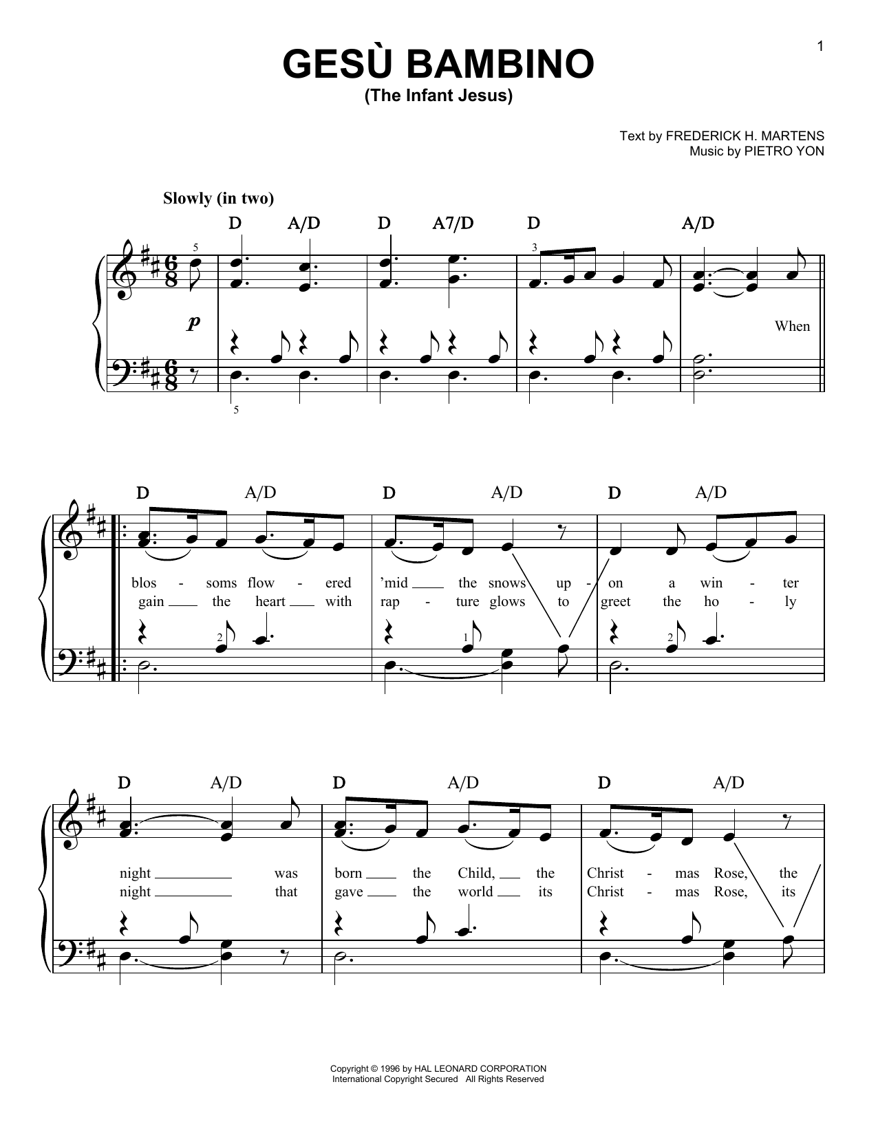 Gesu Bambino (The Infant Jesus) (Easy Piano)