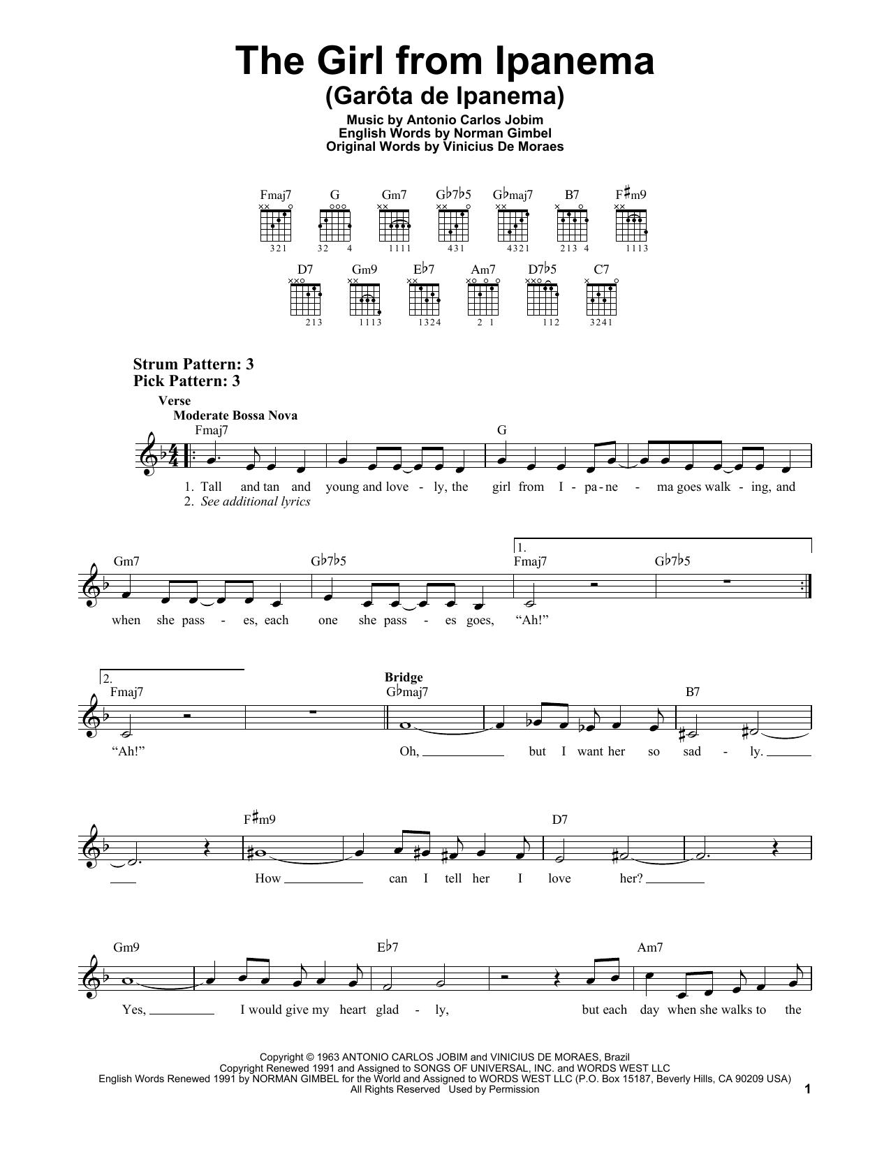 The Girl From Ipanema (Garota De Ipanema) (Easy Guitar)