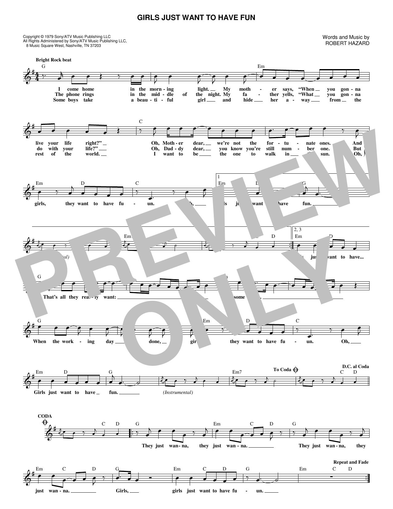 Girls Just Want To Have Fun (Lead Sheet / Fake Book)
