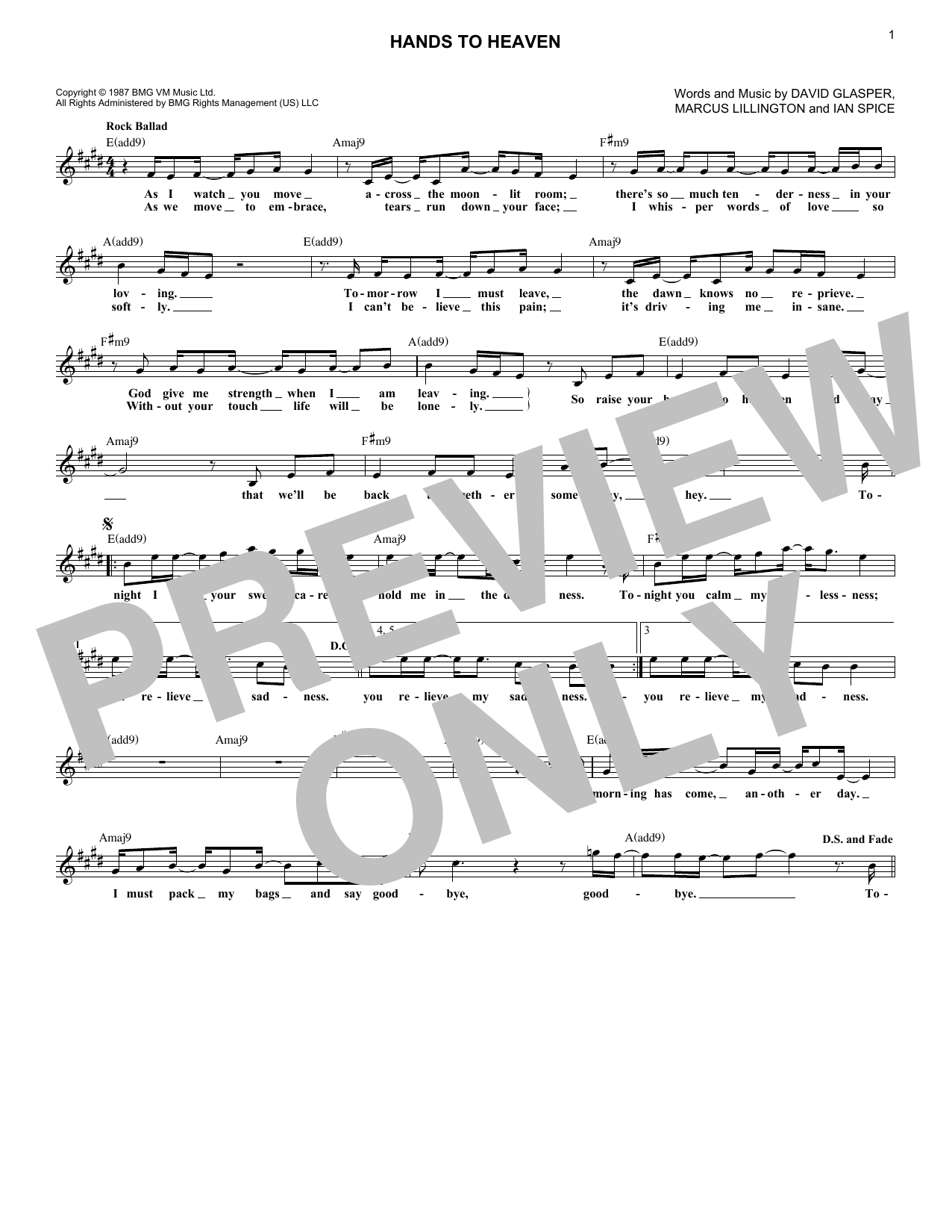 Hands To Heaven (Lead Sheet / Fake Book)