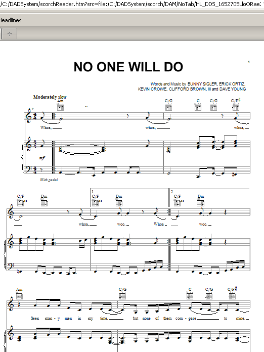 No One Will Do (Piano, Vocal & Guitar (Right-Hand Melody))