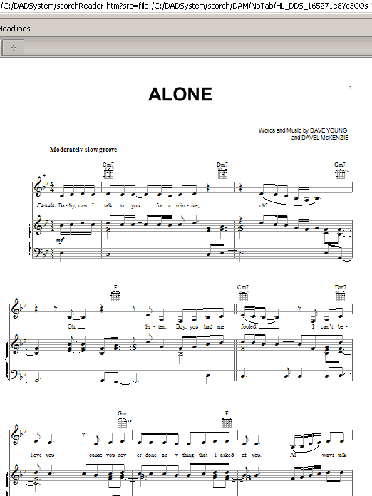 Alone (Piano, Vocal & Guitar (Right-Hand Melody))