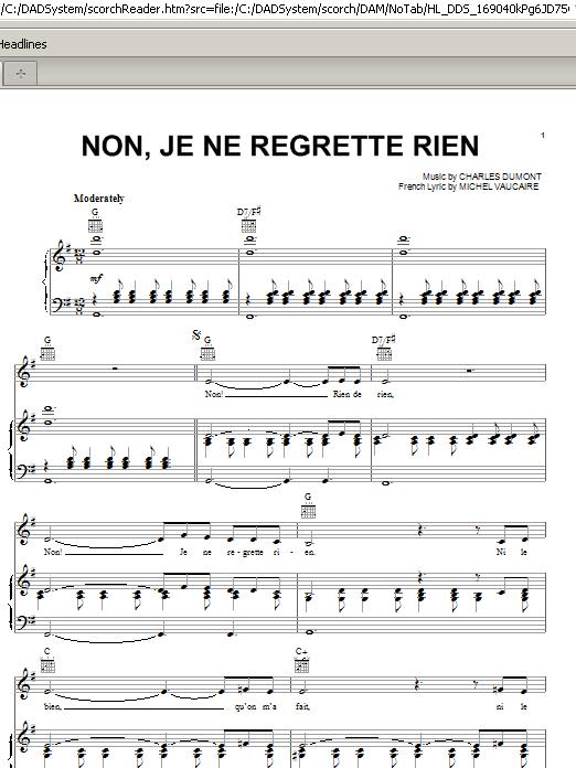 Non, Je Ne Regrette Rien (Piano, Vocal & Guitar (Right-Hand Melody))