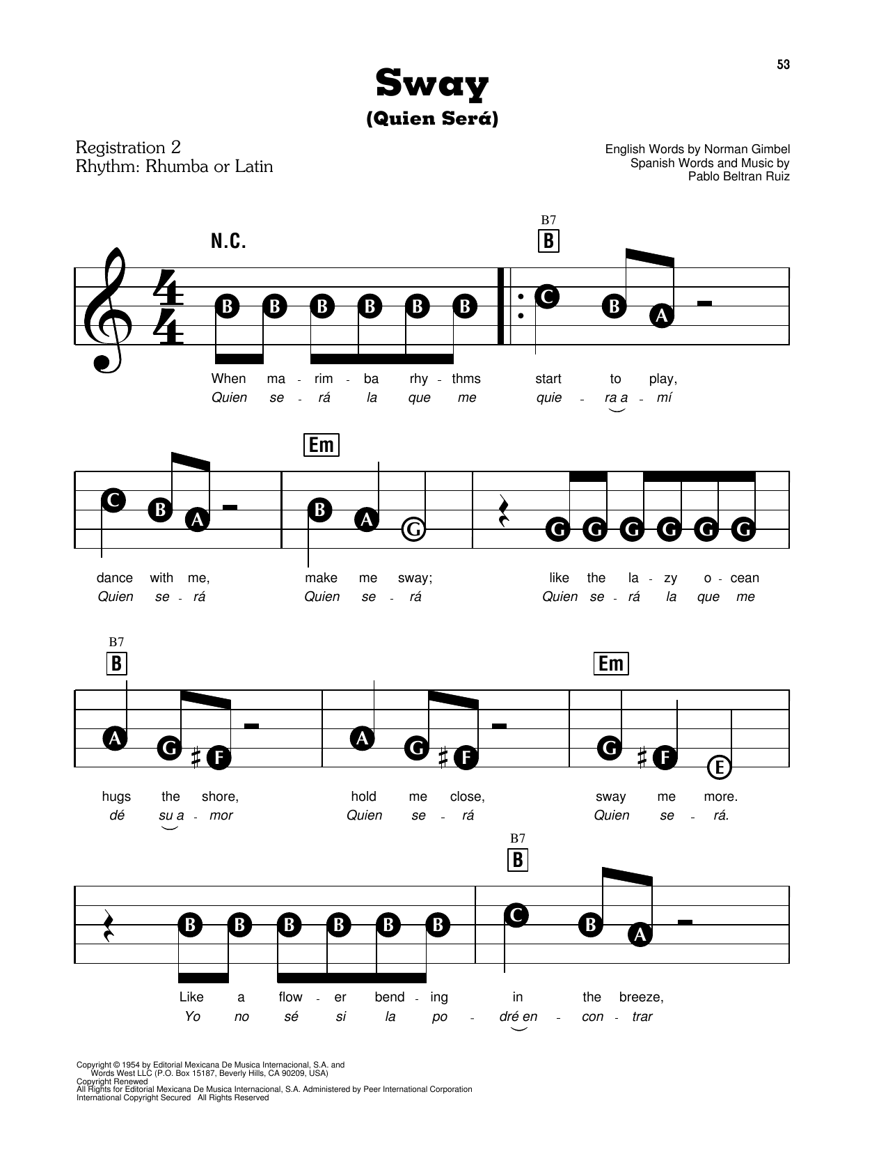 Sway (Quien Sera) (E-Z Play Today)