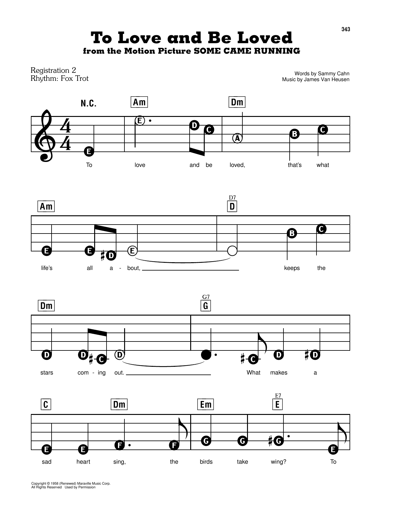 To Love And Be Loved (from Some Came Running) Sheet Music