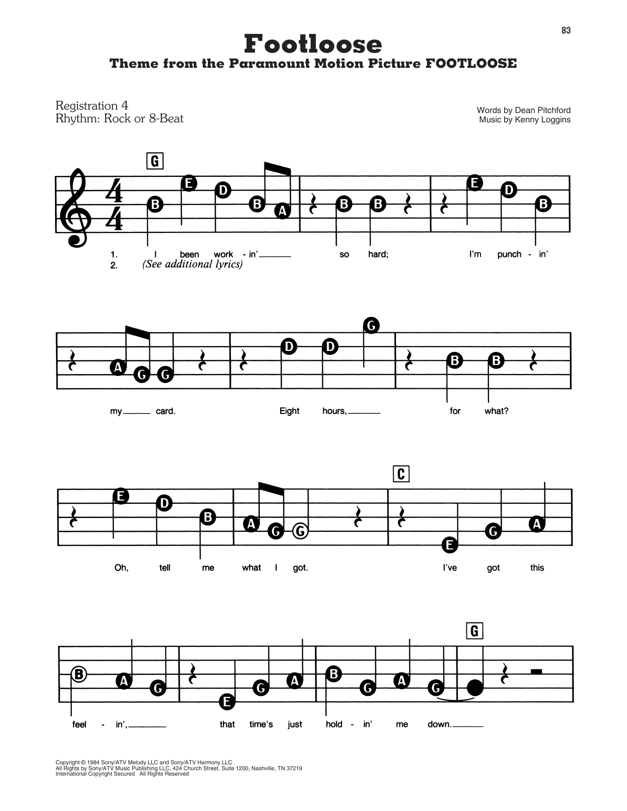 Footloose (E-Z Play Today)
