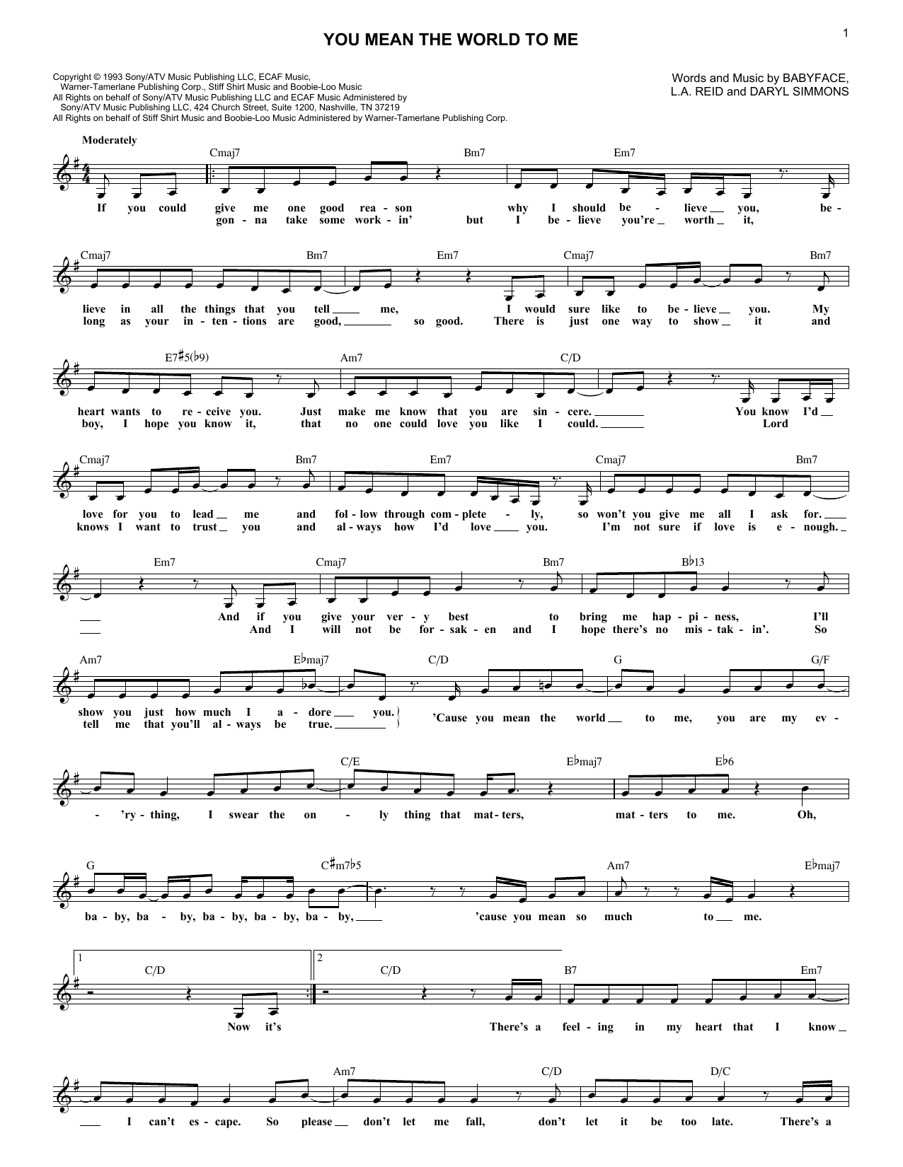 You Mean The World To Me (Lead Sheet / Fake Book)