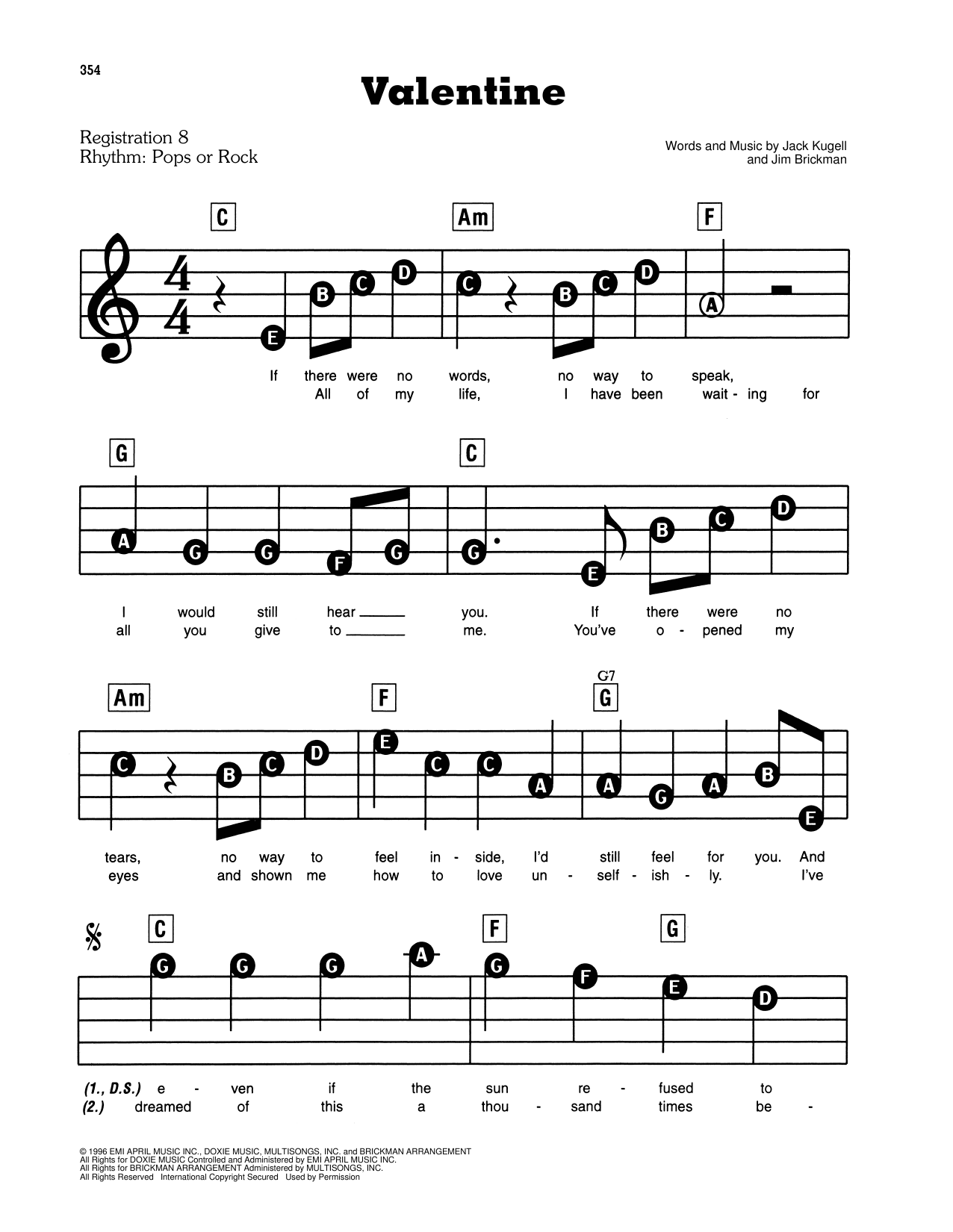 Valentine (E-Z Play Today)