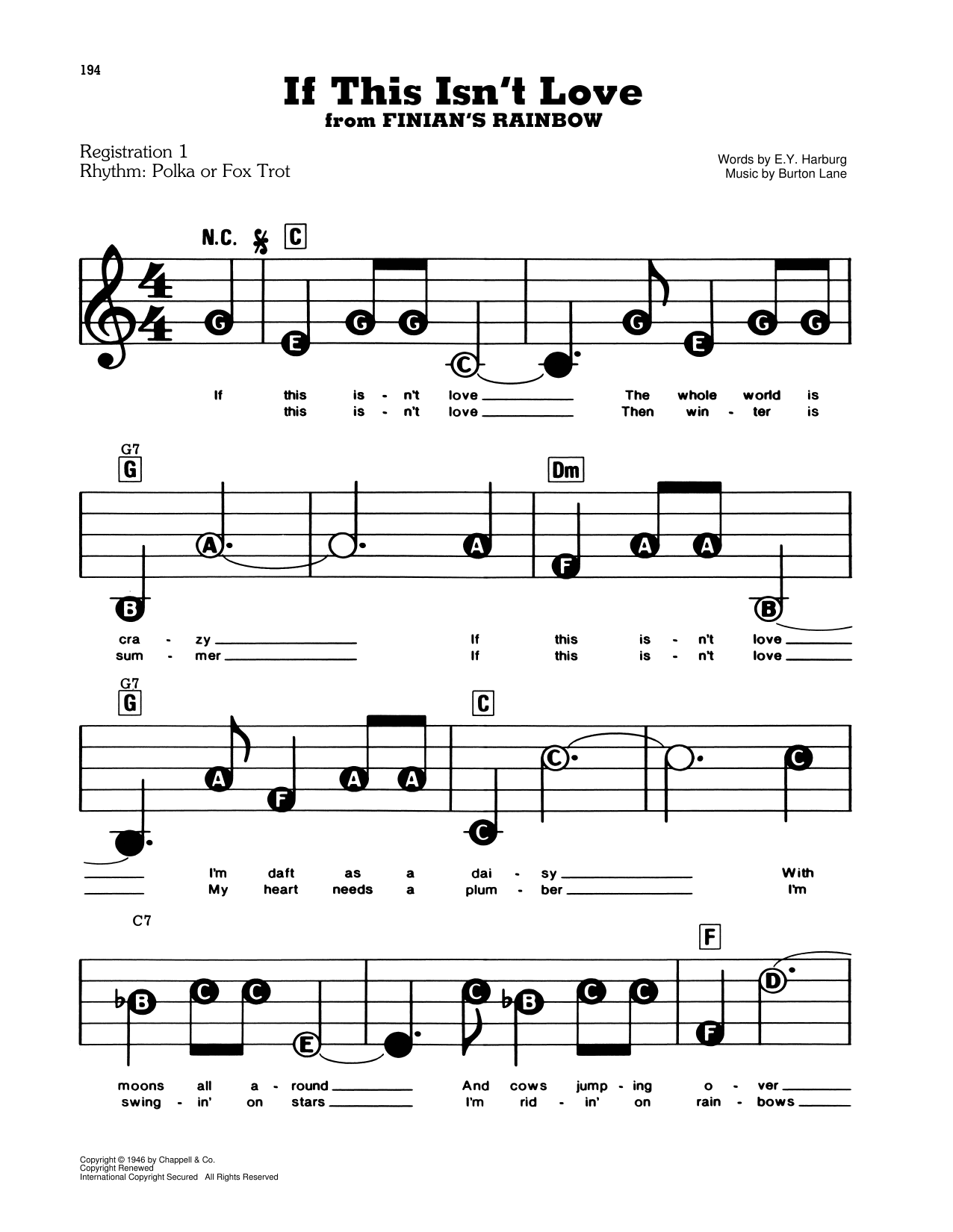 If This Isn't Love (from Finian's Rainbow) Sheet Music