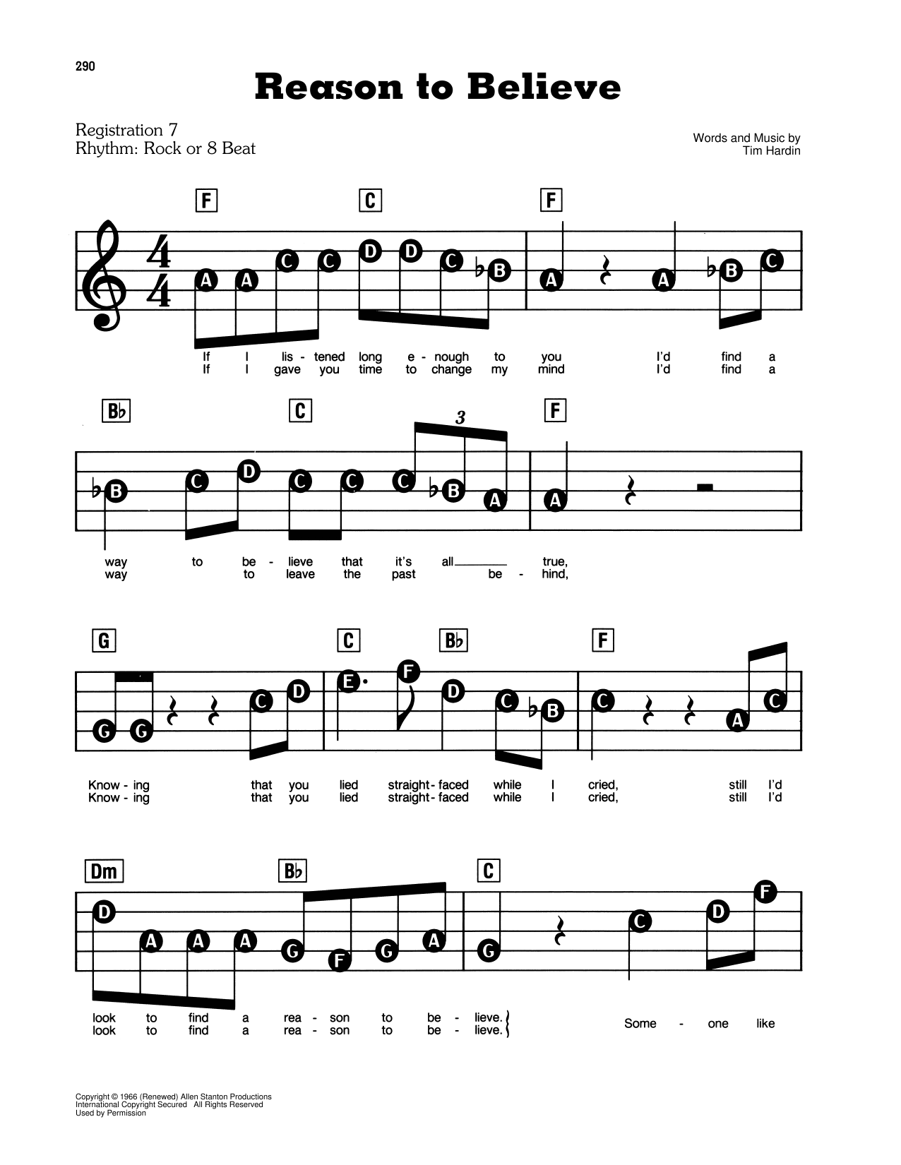 Reason To Believe Sheet Music