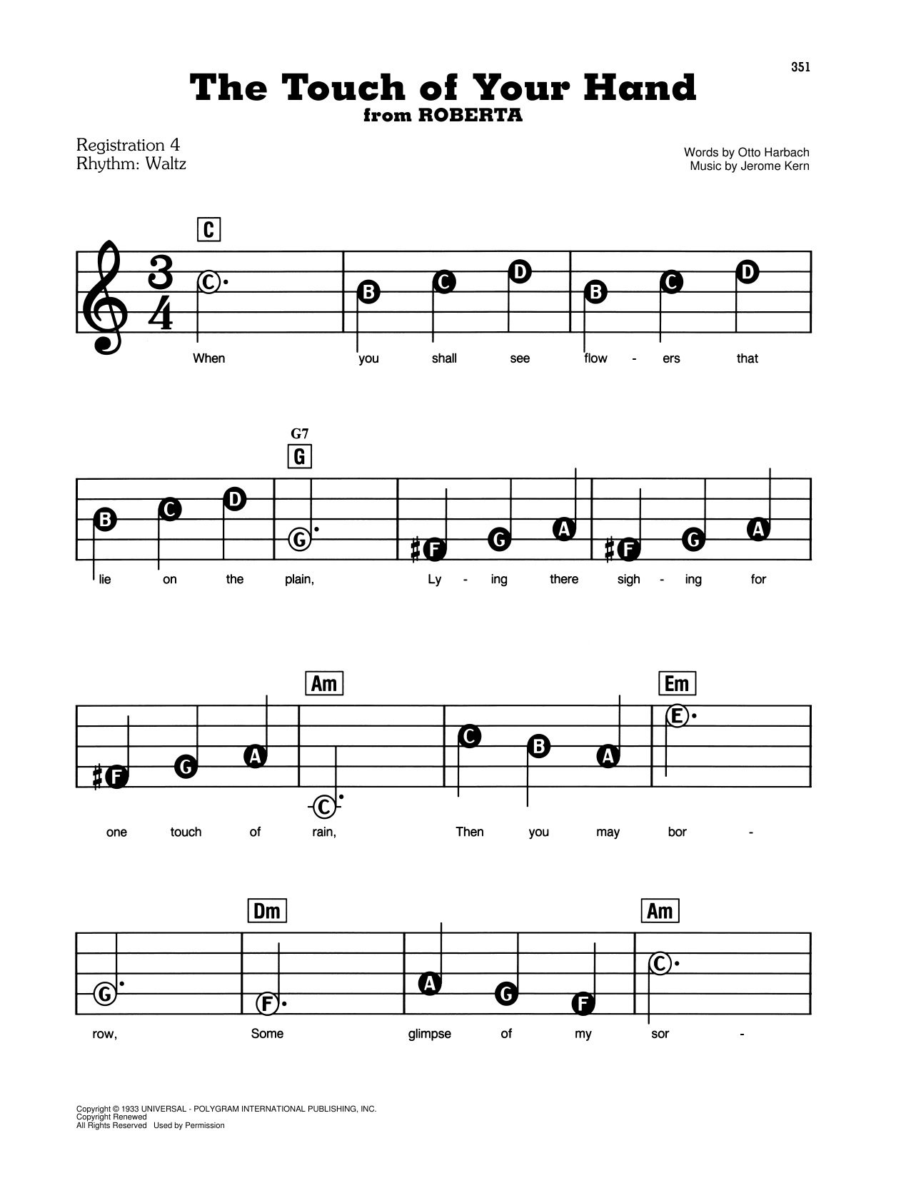 The Touch Of Your Hand (from Roberta) Sheet Music