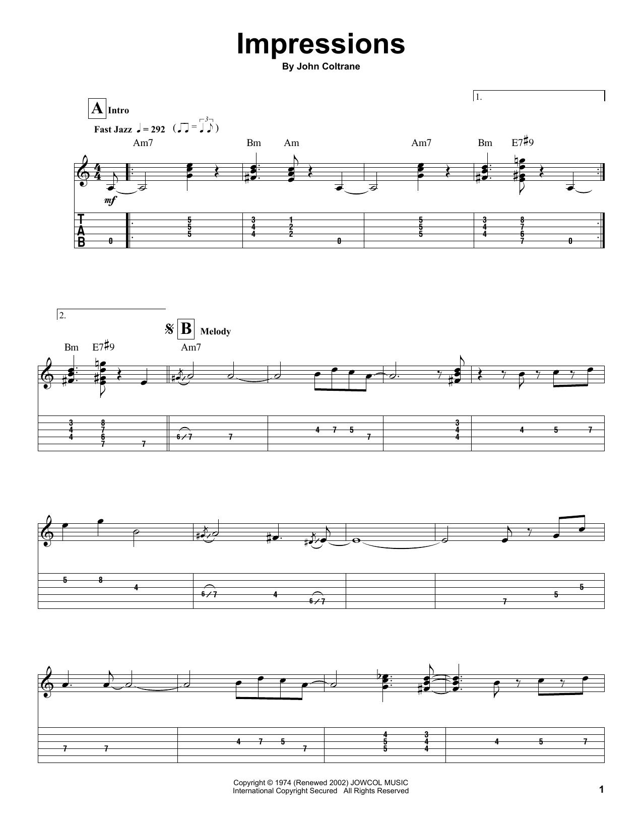 Impressions (Guitar Tab (Single Guitar))