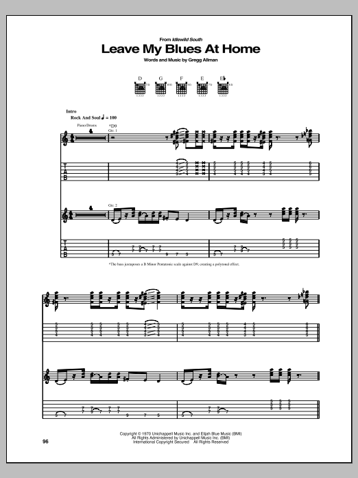 Tablature guitare Leave My Blues At Home de Gregg Allman - Tablature Guitare
