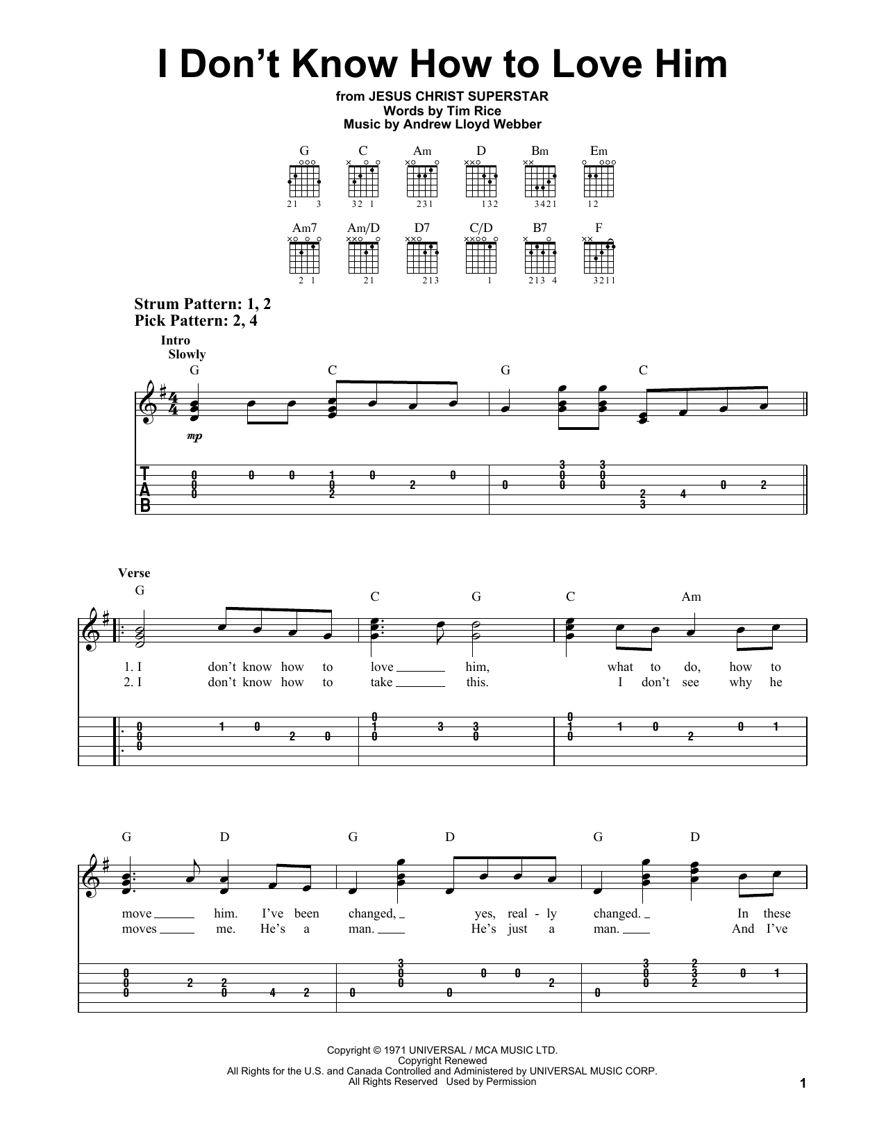 I Don't Know How To Love Him (from Jesus Christ Superstar) (Easy Guitar Tab)