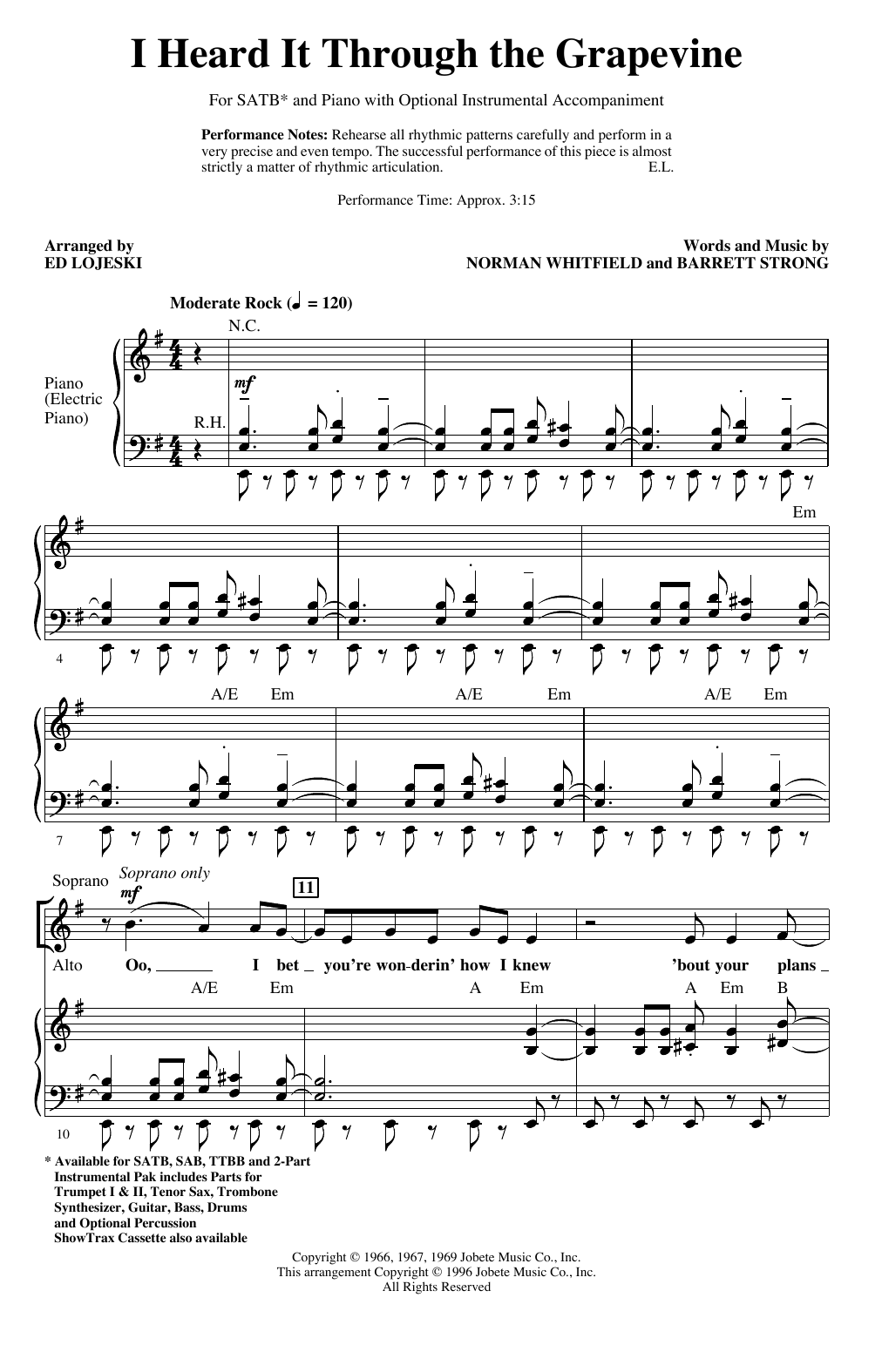 I Heard It Through The Grapevine (arr. Ed Lojeski) Partition Digitale