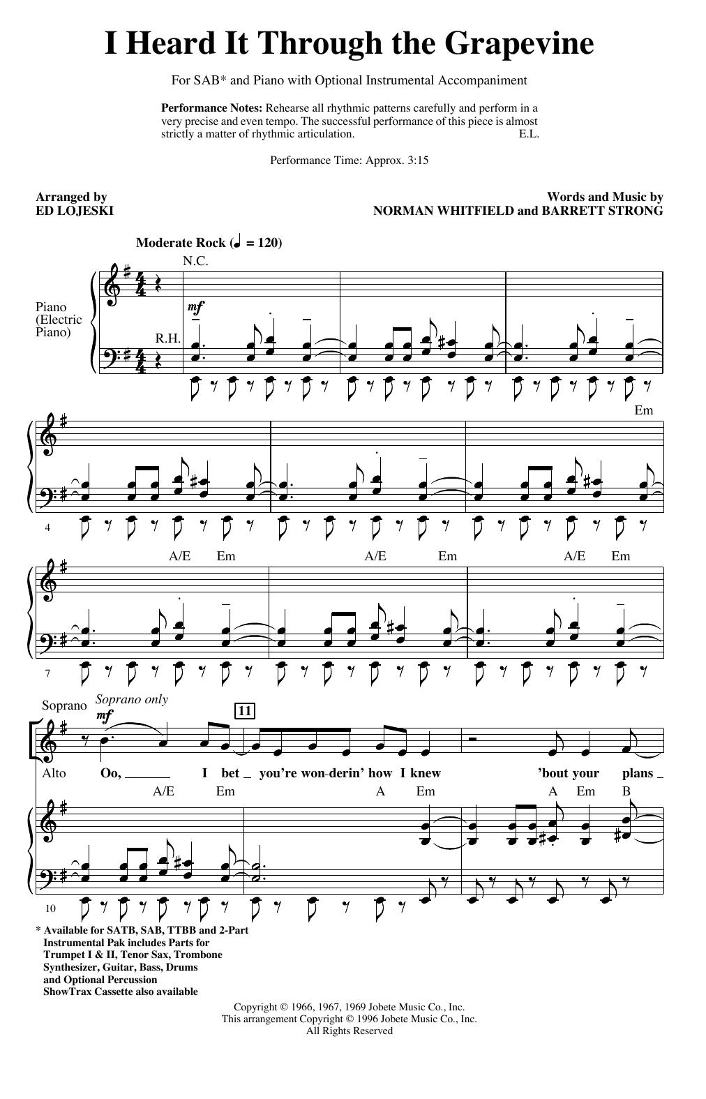 I Heard It Through The Grapevine (arr. Ed Lojeski) (SAB Choir)