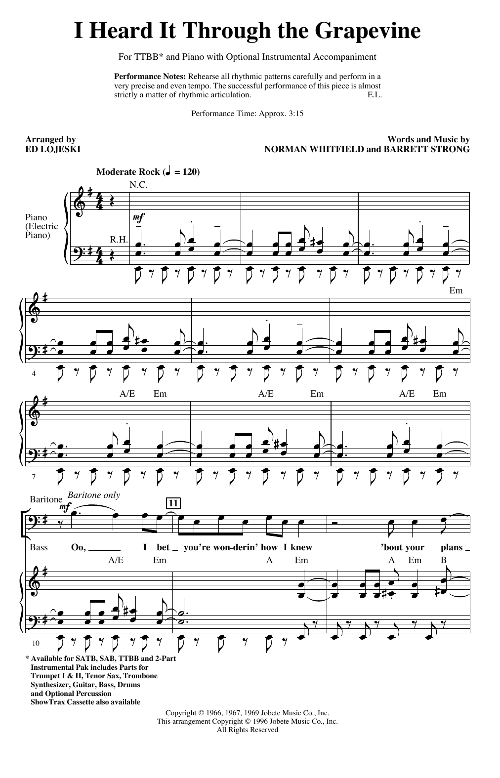 I Heard It Through The Grapevine (arr. Ed Lojeski) (TTBB Choir)