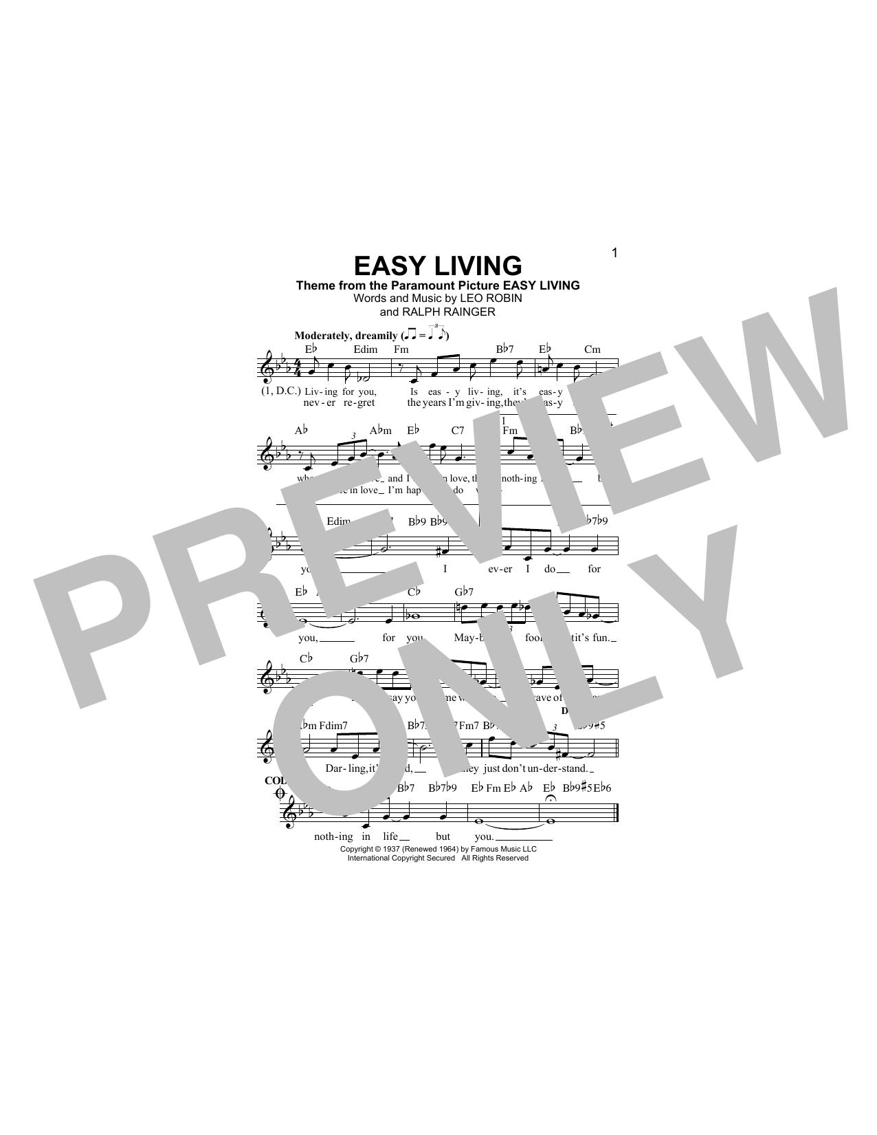 Easy Living (Lead Sheet / Fake Book)