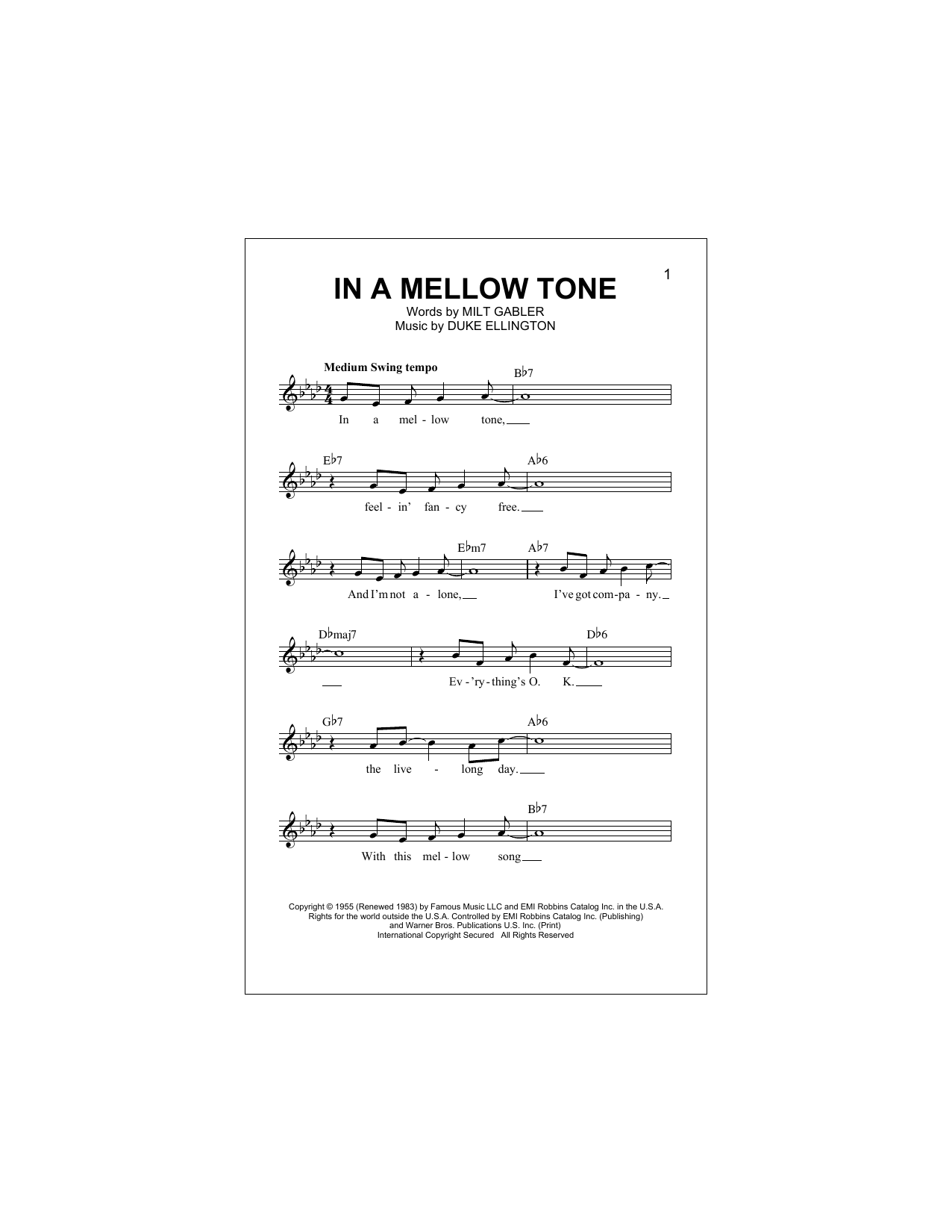 In A Mellow Tone Sheet Music