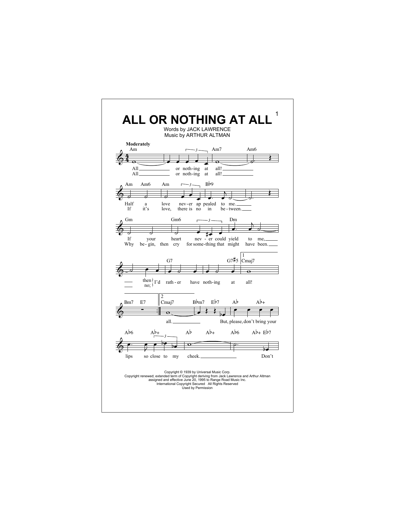 All Or Nothing At All Sheet Music