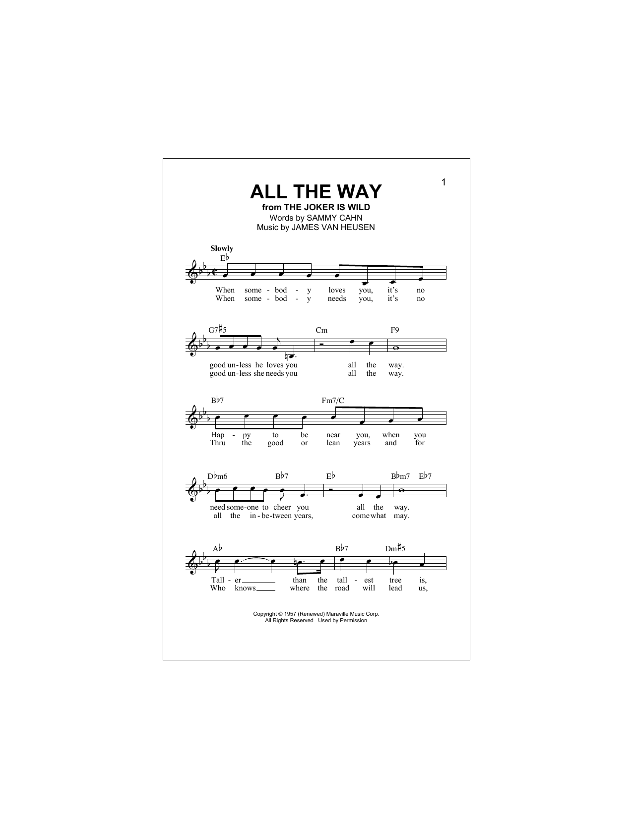 All The Way (Lead Sheet / Fake Book)