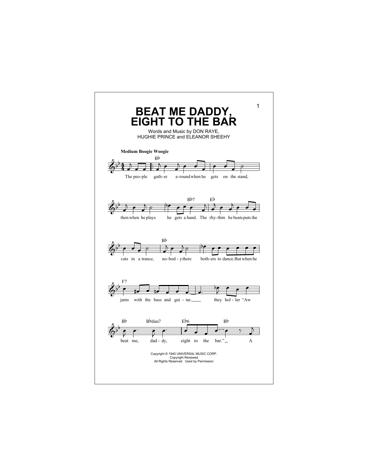 Beat Me Daddy, Eight To The Bar Sheet Music