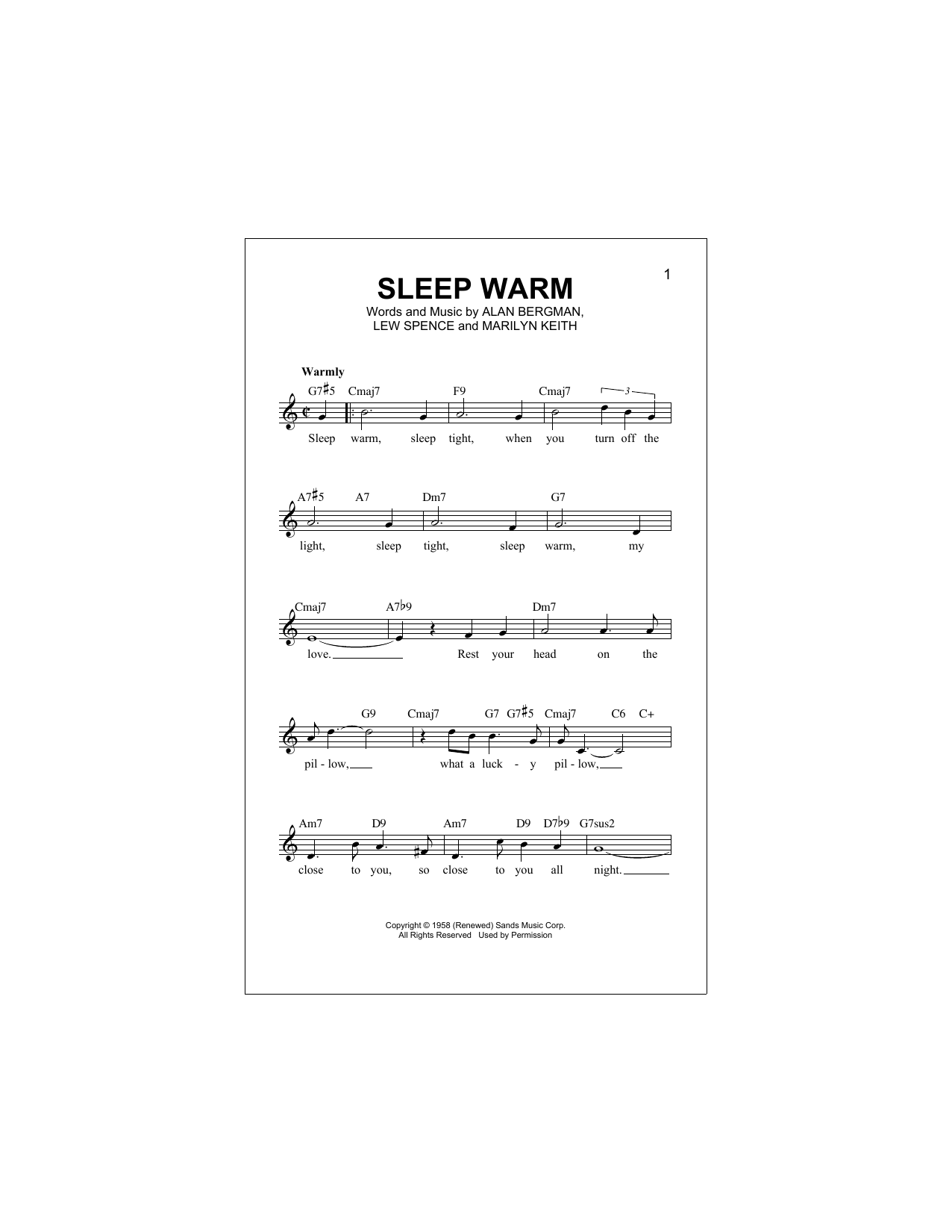Sleep Warm (Lead Sheet / Fake Book)