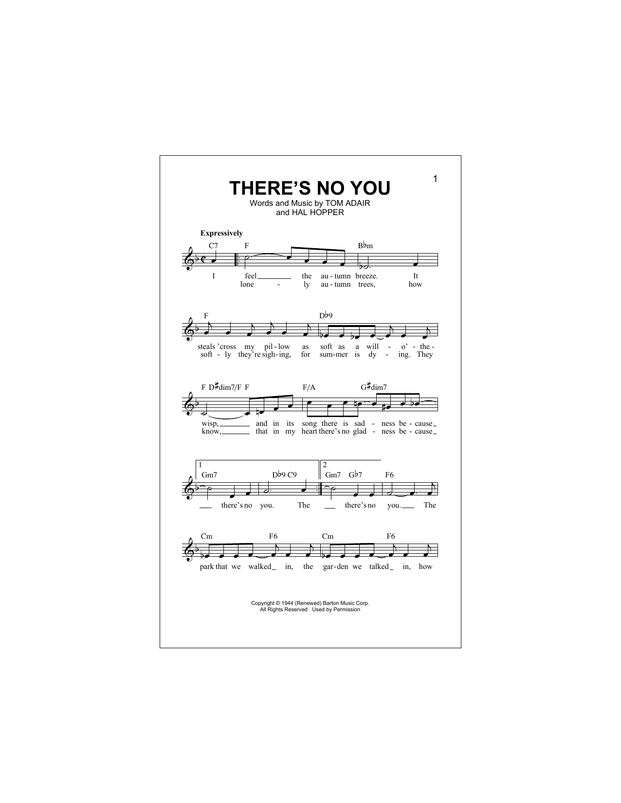 There's No You (Lead Sheet / Fake Book)