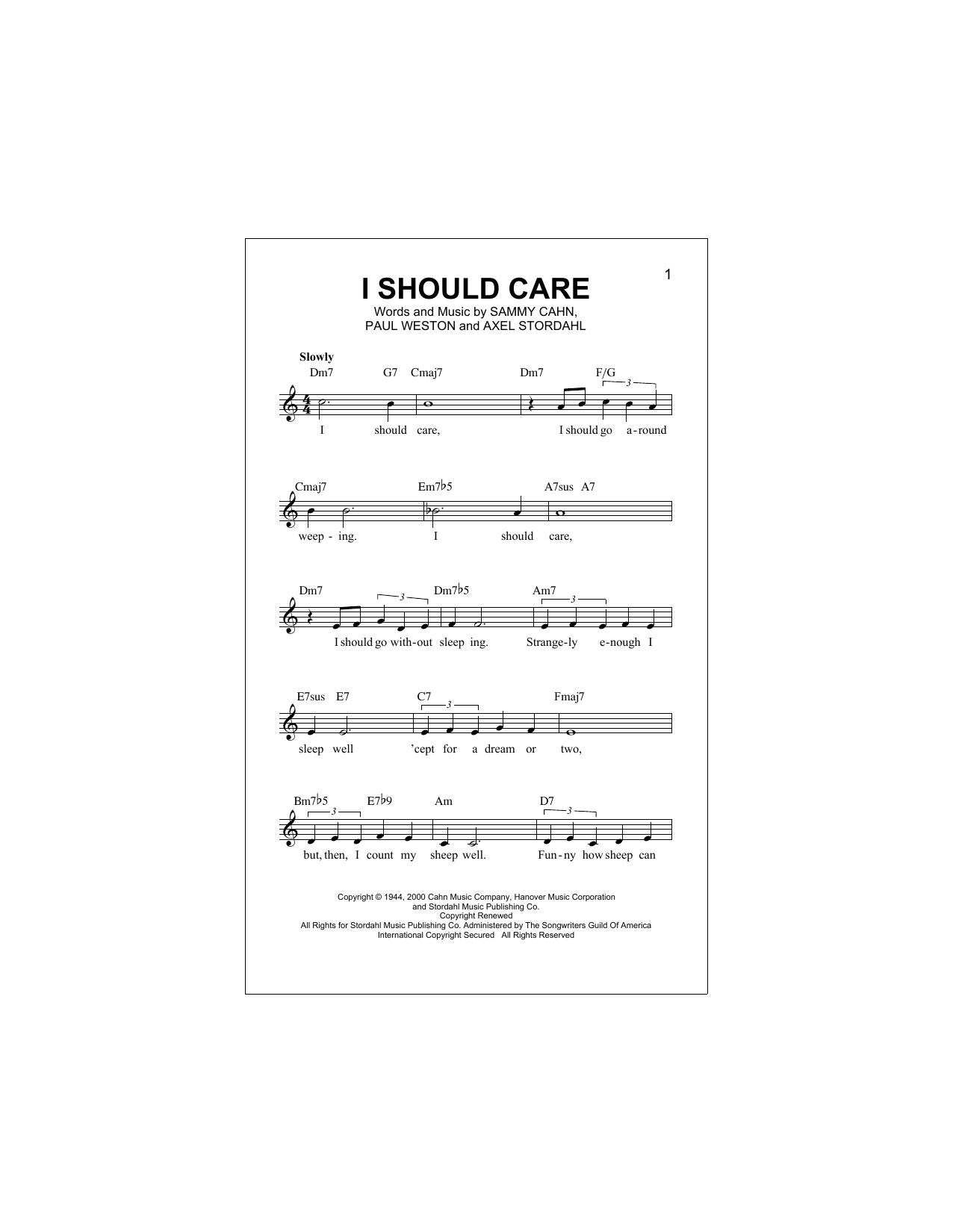 I Should Care Sheet Music