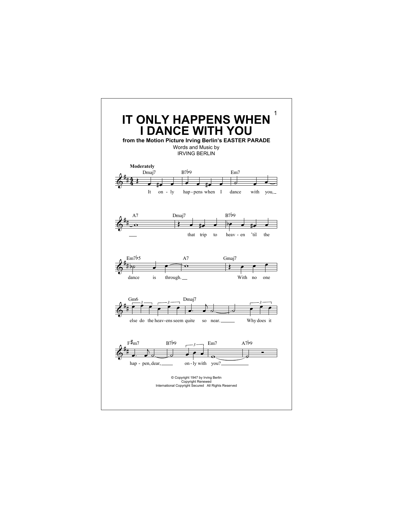 It Only Happens When I Dance With You Sheet Music