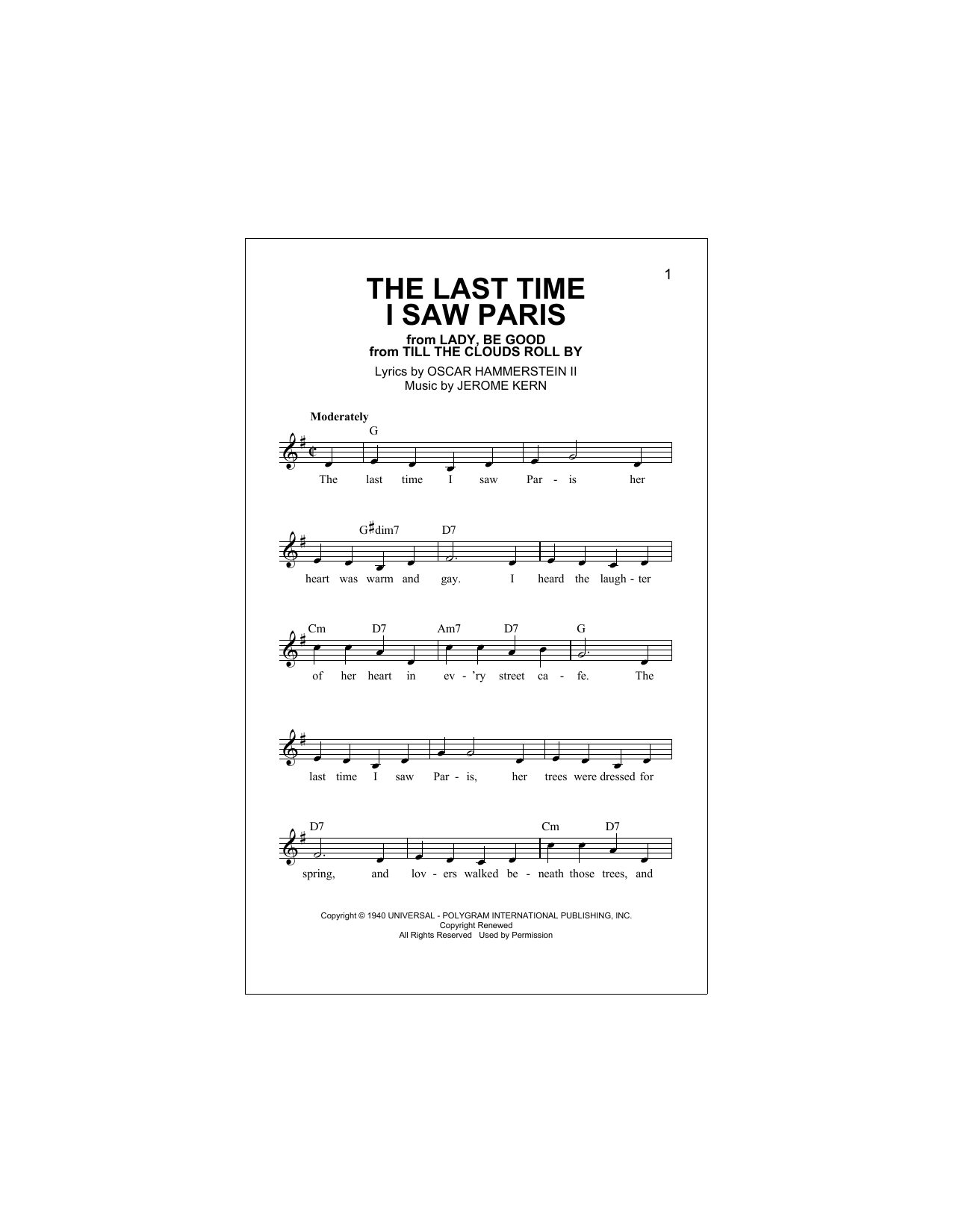 The Last Time I Saw Paris Sheet Music