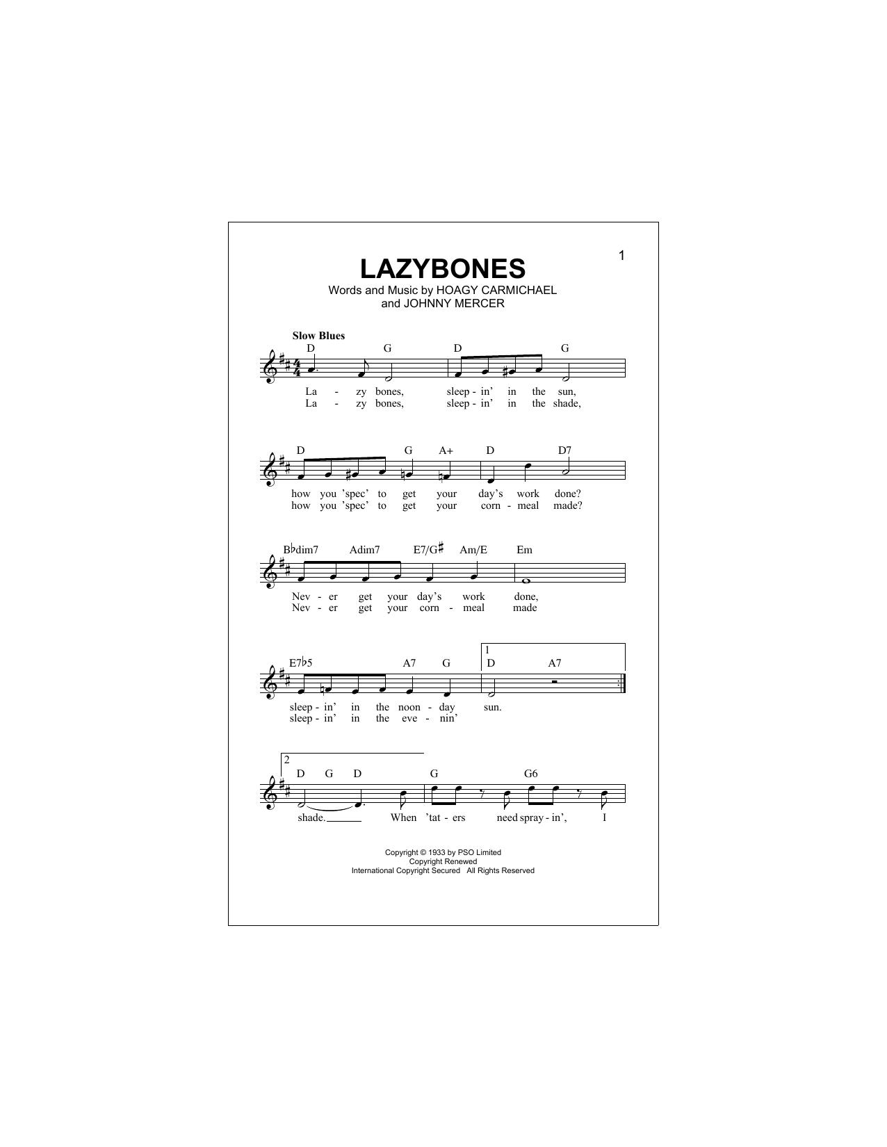 Lazybones (Lead Sheet / Fake Book)