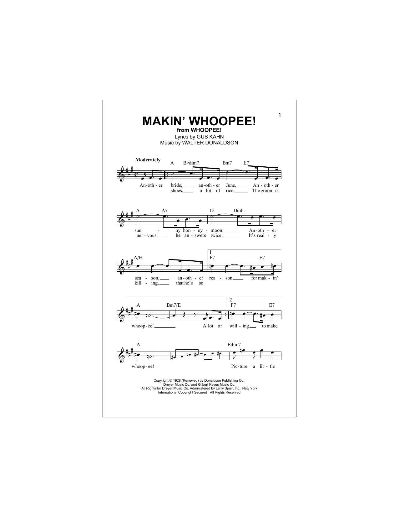 Makin' Whoopee! (Lead Sheet / Fake Book)