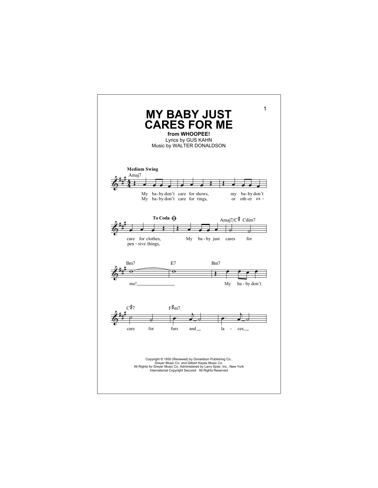 My Baby Just Cares For Me (Lead Sheet / Fake Book)