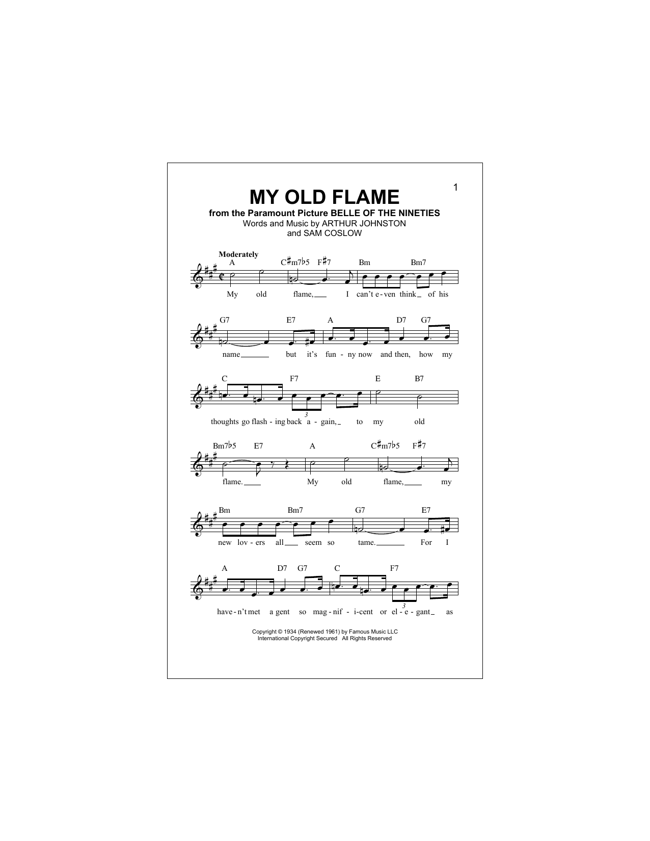 My Old Flame Sheet Music