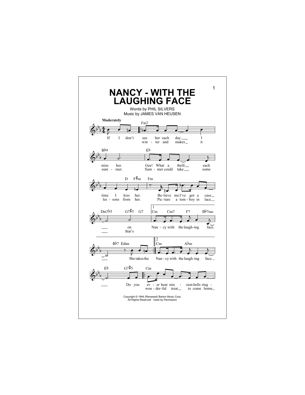 Nancy With The Laughing Face Sheet Music