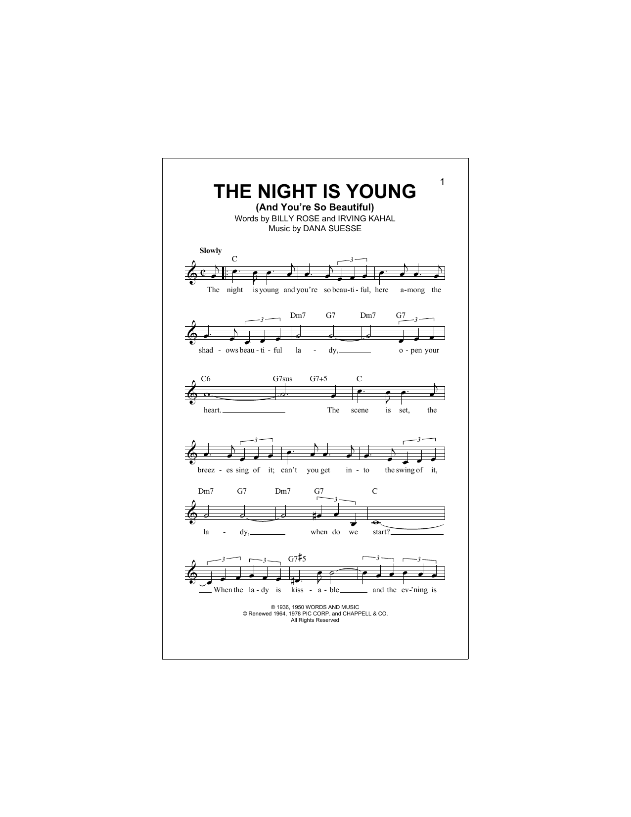 The Night Is Young (And You're So Beautiful) Sheet Music