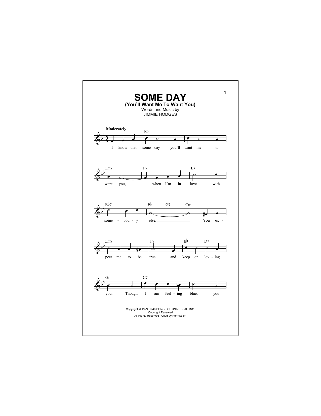 Some Day (You'll Want Me To Want You) Sheet Music