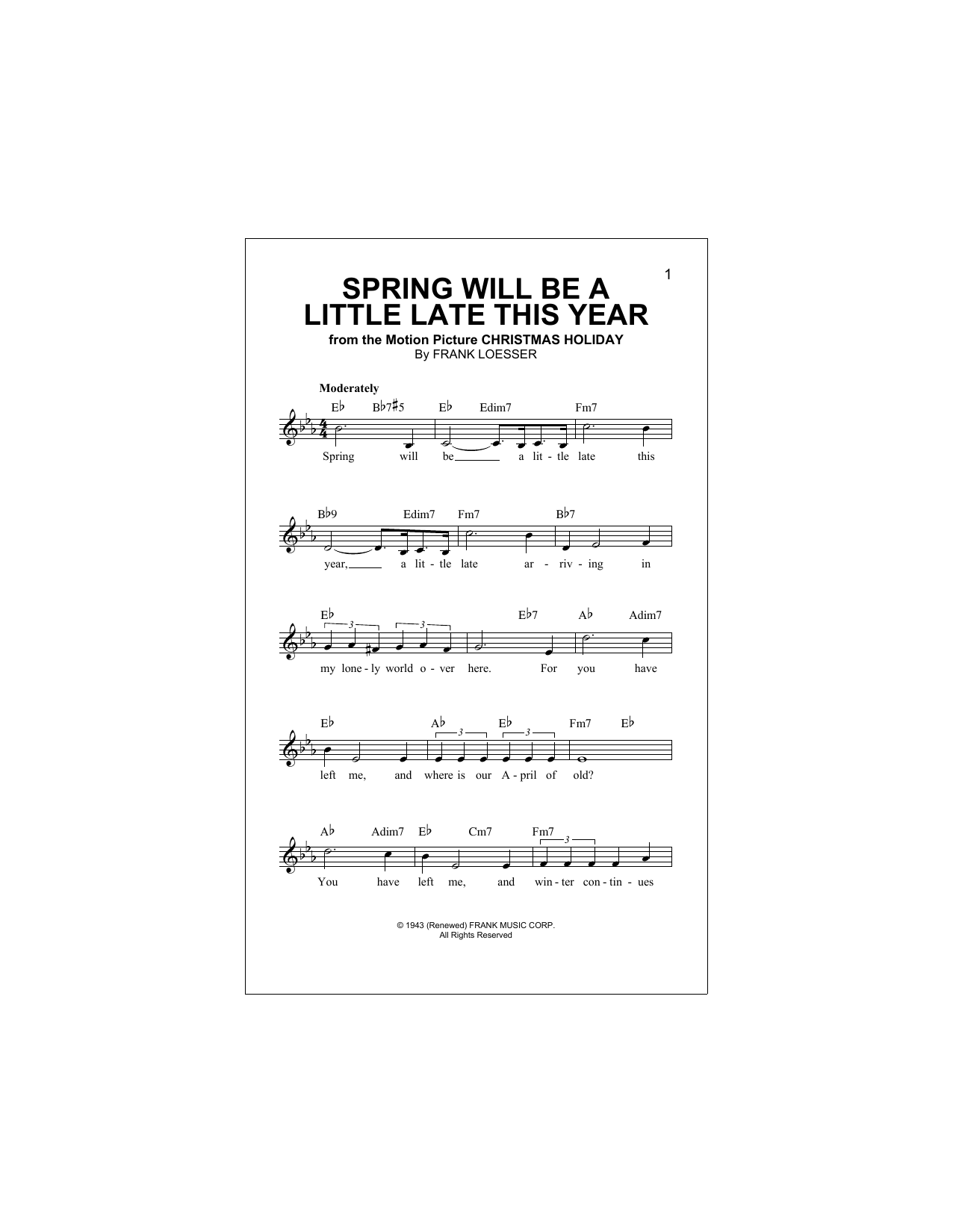 Spring Will Be A Little Late This Year Sheet Music