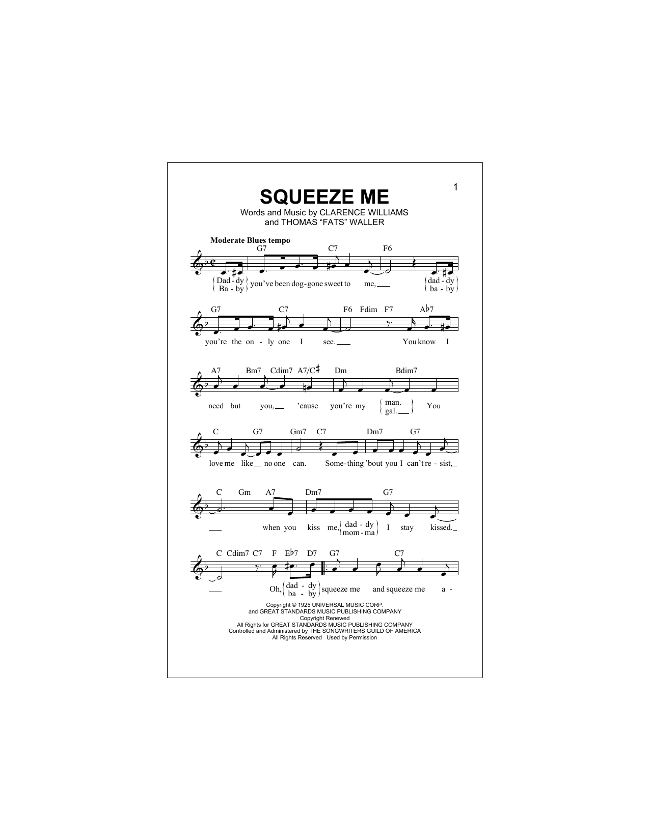 Squeeze Me Sheet Music