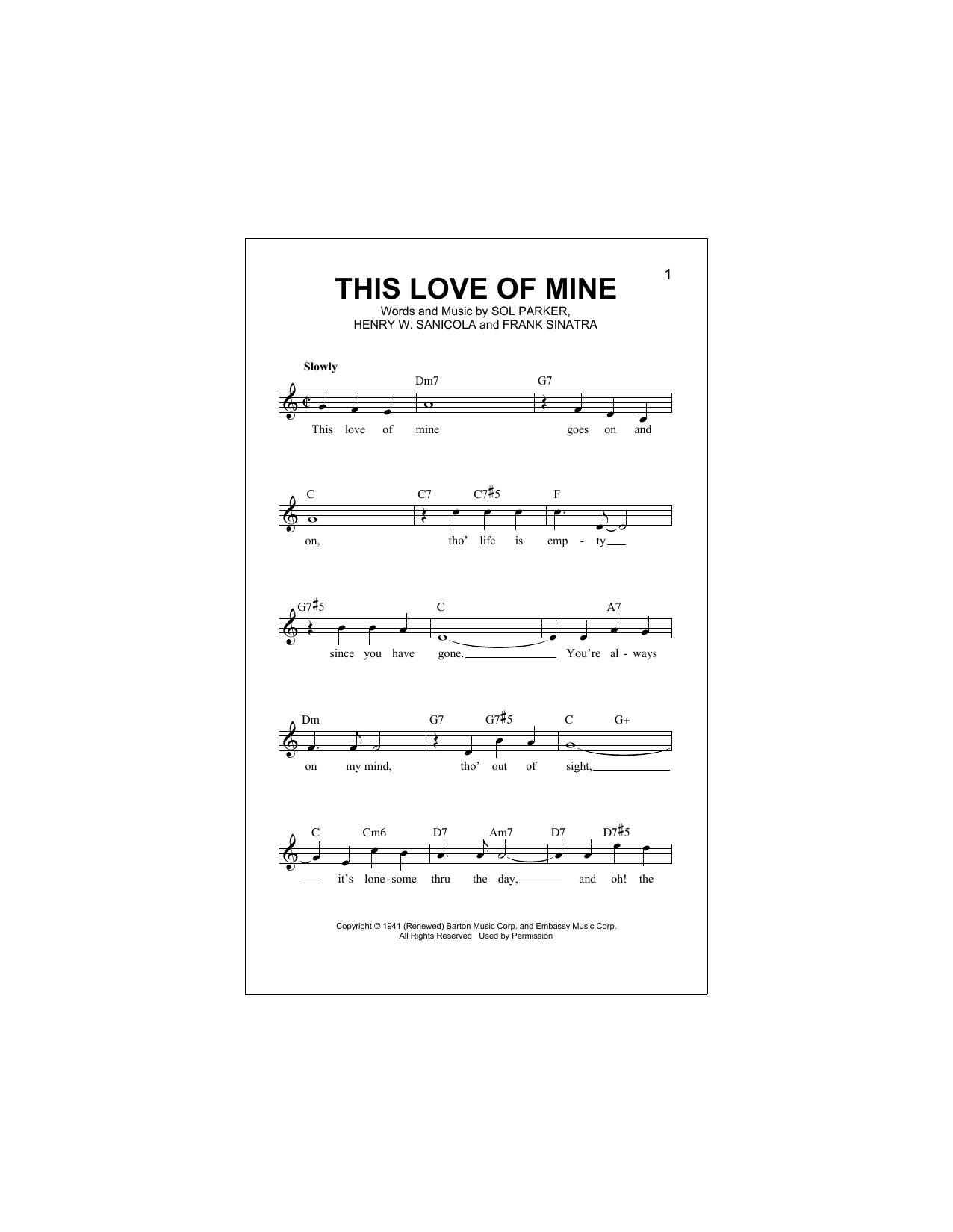 This Love Of Mine (Lead Sheet / Fake Book)