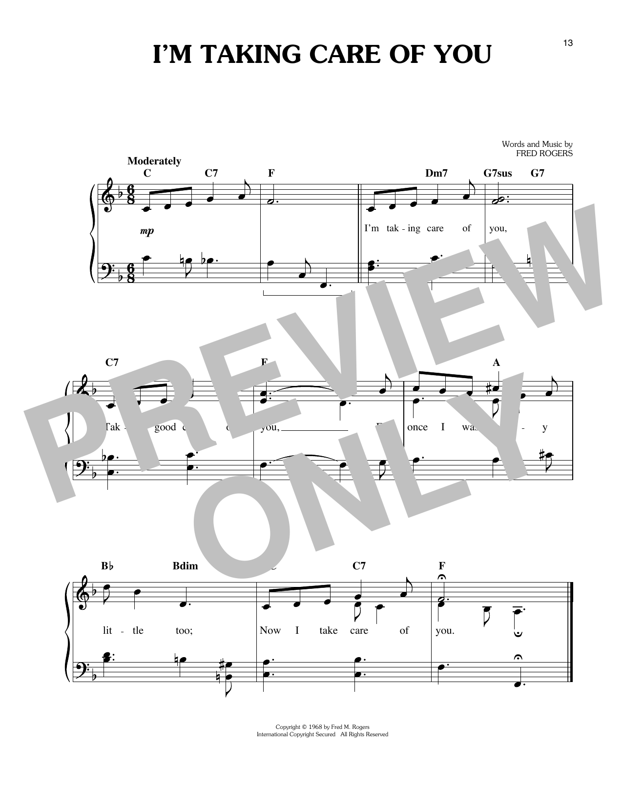 I'm Taking Care Of You Sheet Music