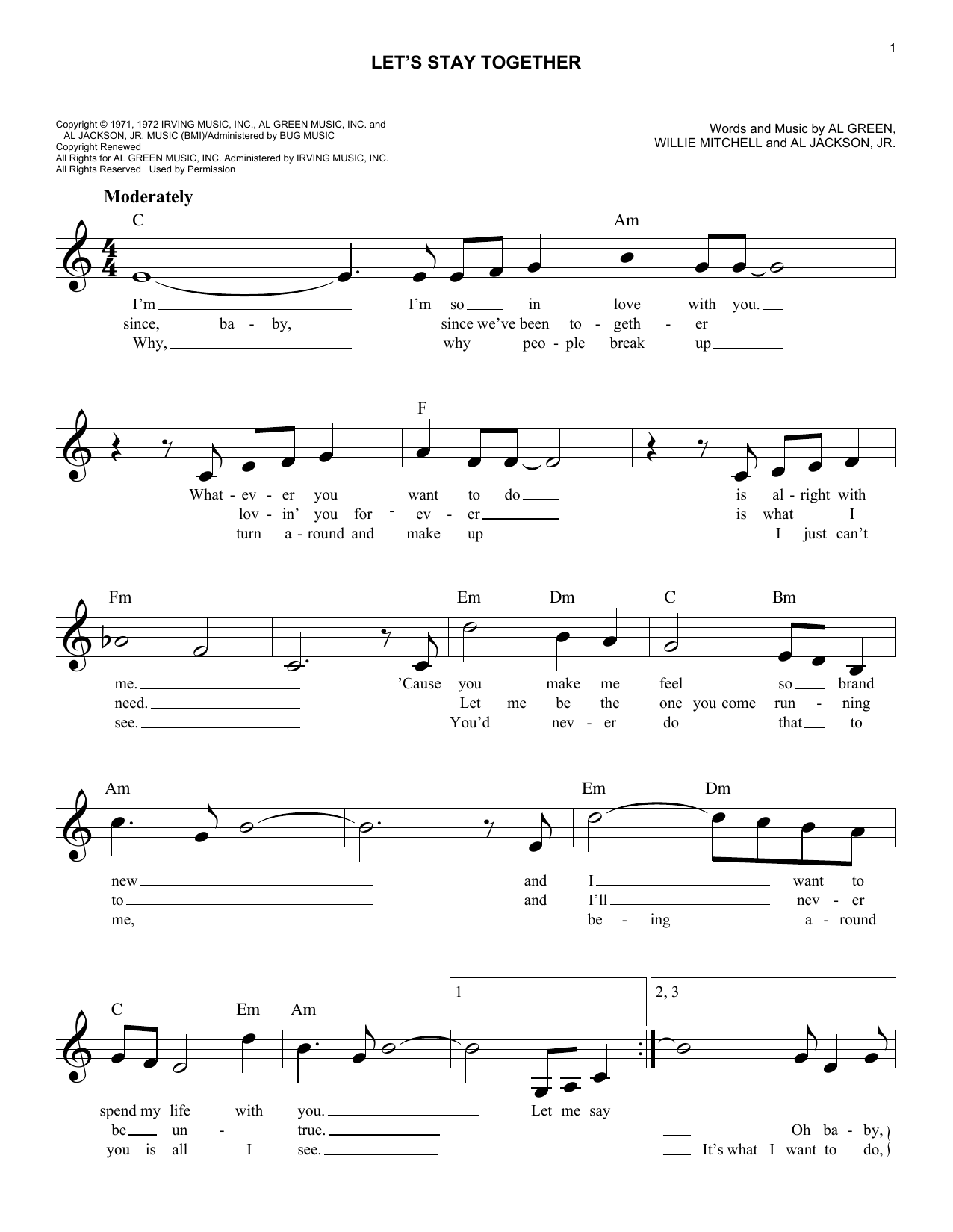 Let's Stay Together (Lead Sheet / Fake Book)